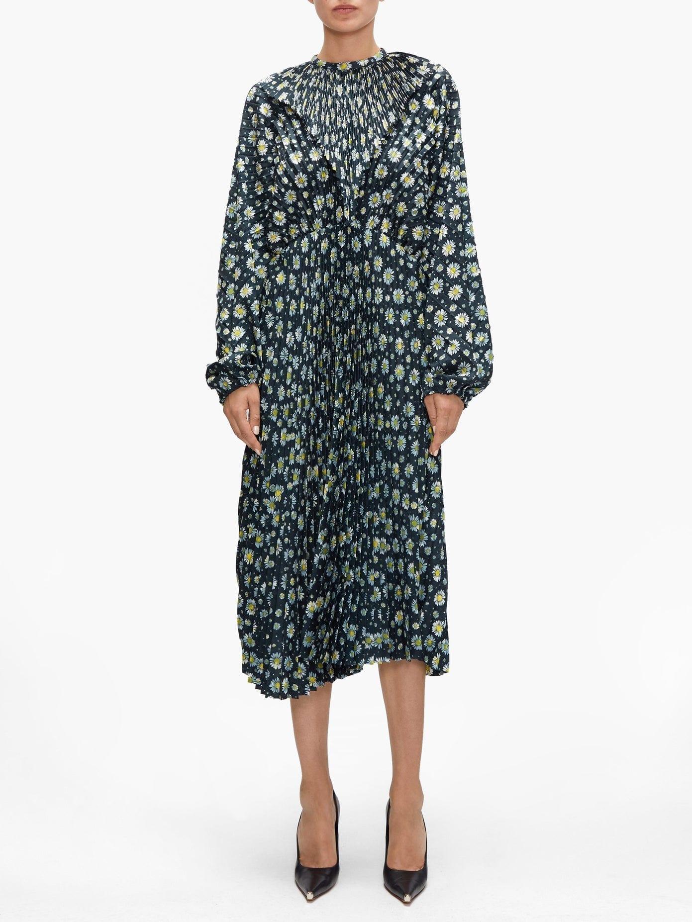 VETEMENTS Floral-print Plissé Midi Dress