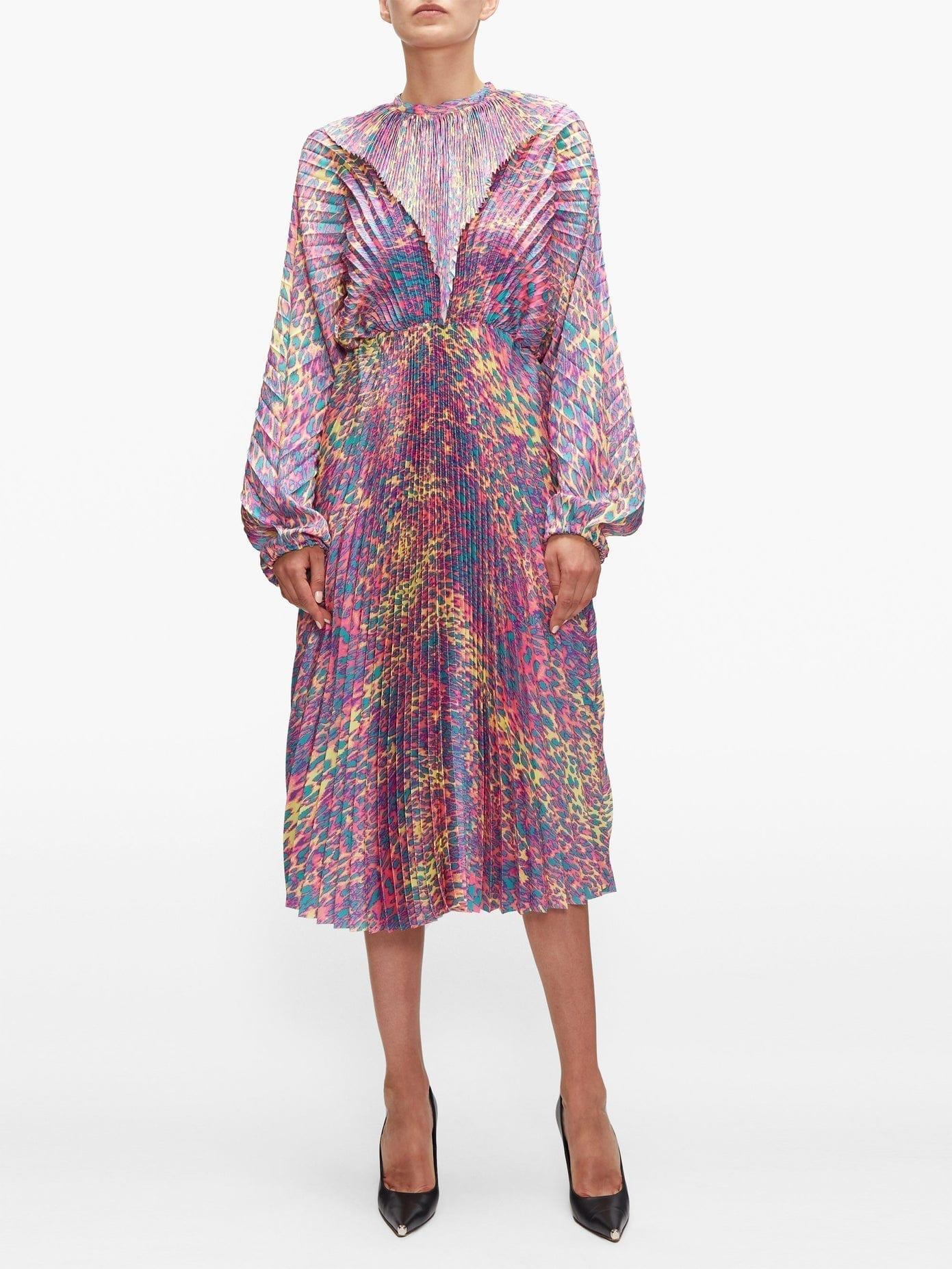 VETEMENTS Pleated Leopard-print Satin-twill Dress