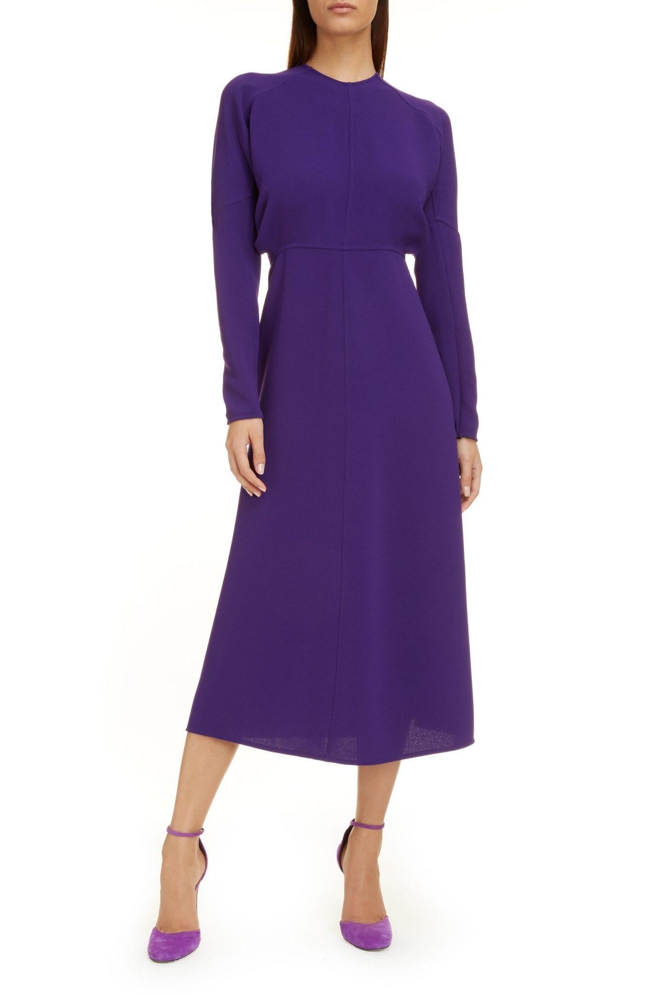 VICTORIA BECKHAM Dolman Long Sleeve Midi Dress