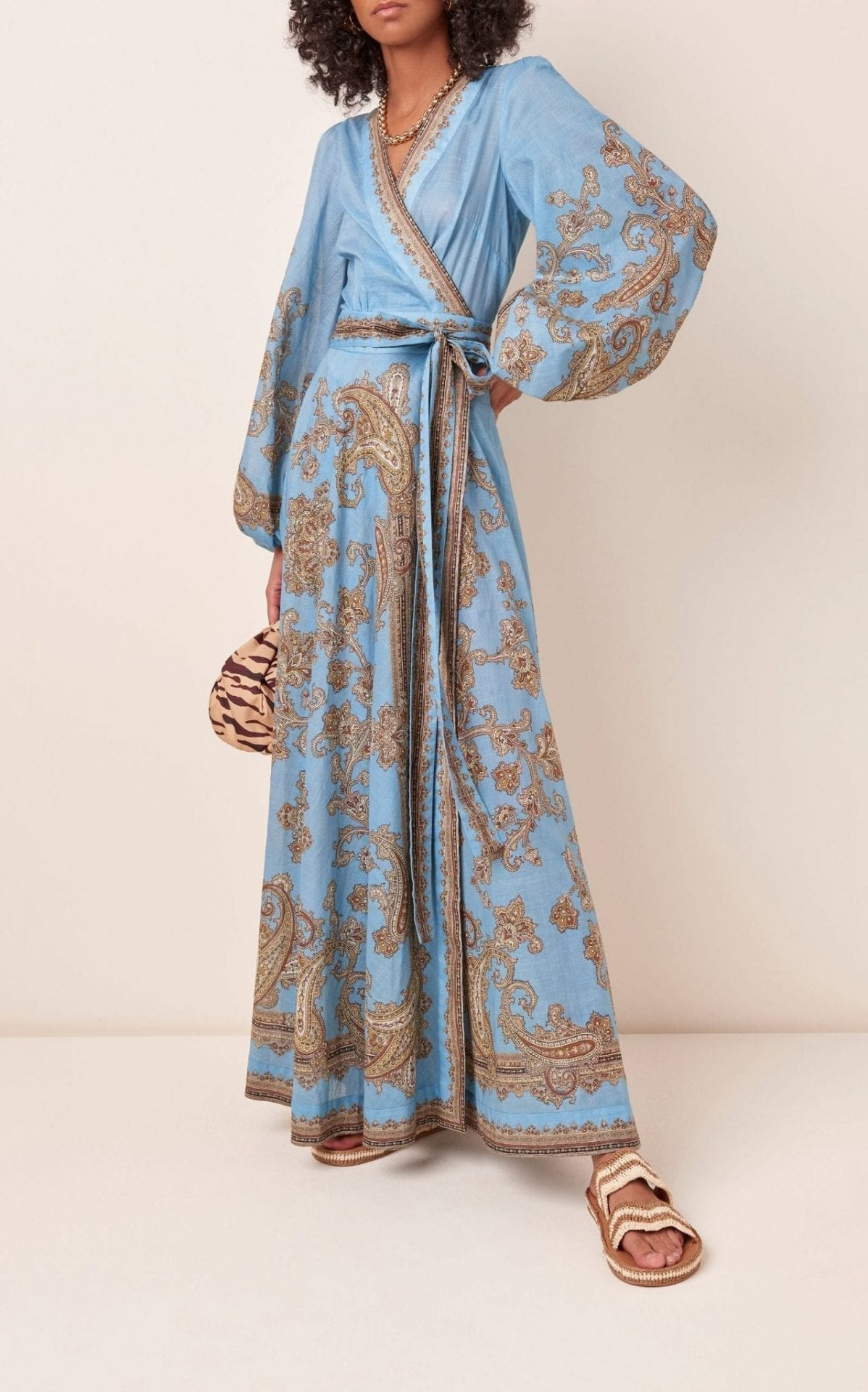 ZIMMERMANN Fiesta Printed Cotton Maxi Wrap Dress