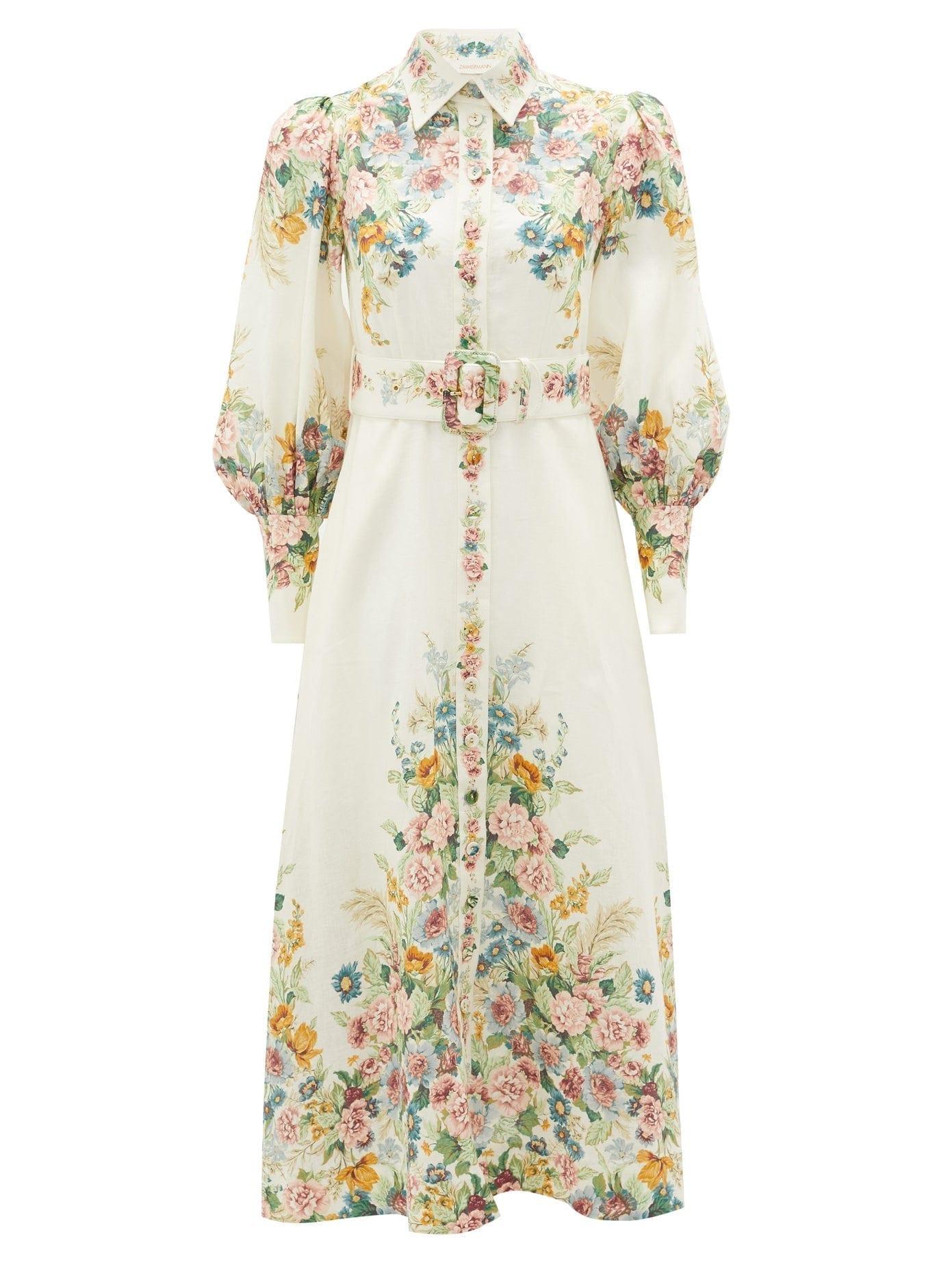 ZIMMERMANN Wavelength Belted Floral-print Linen Midi Dress