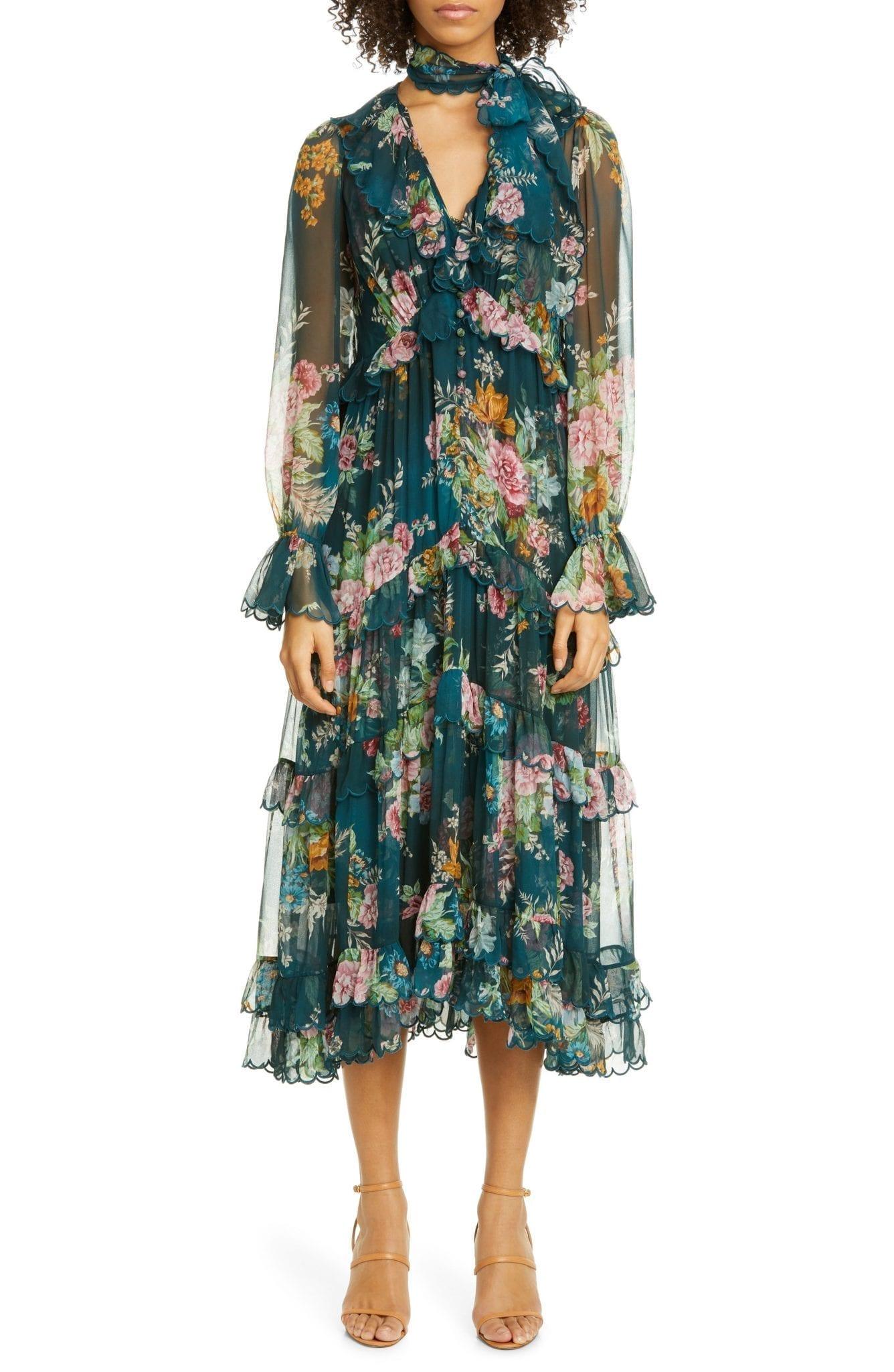ZIMMERMANN Wavelength Scallop Ruffle Long Sleeve Midi Dress