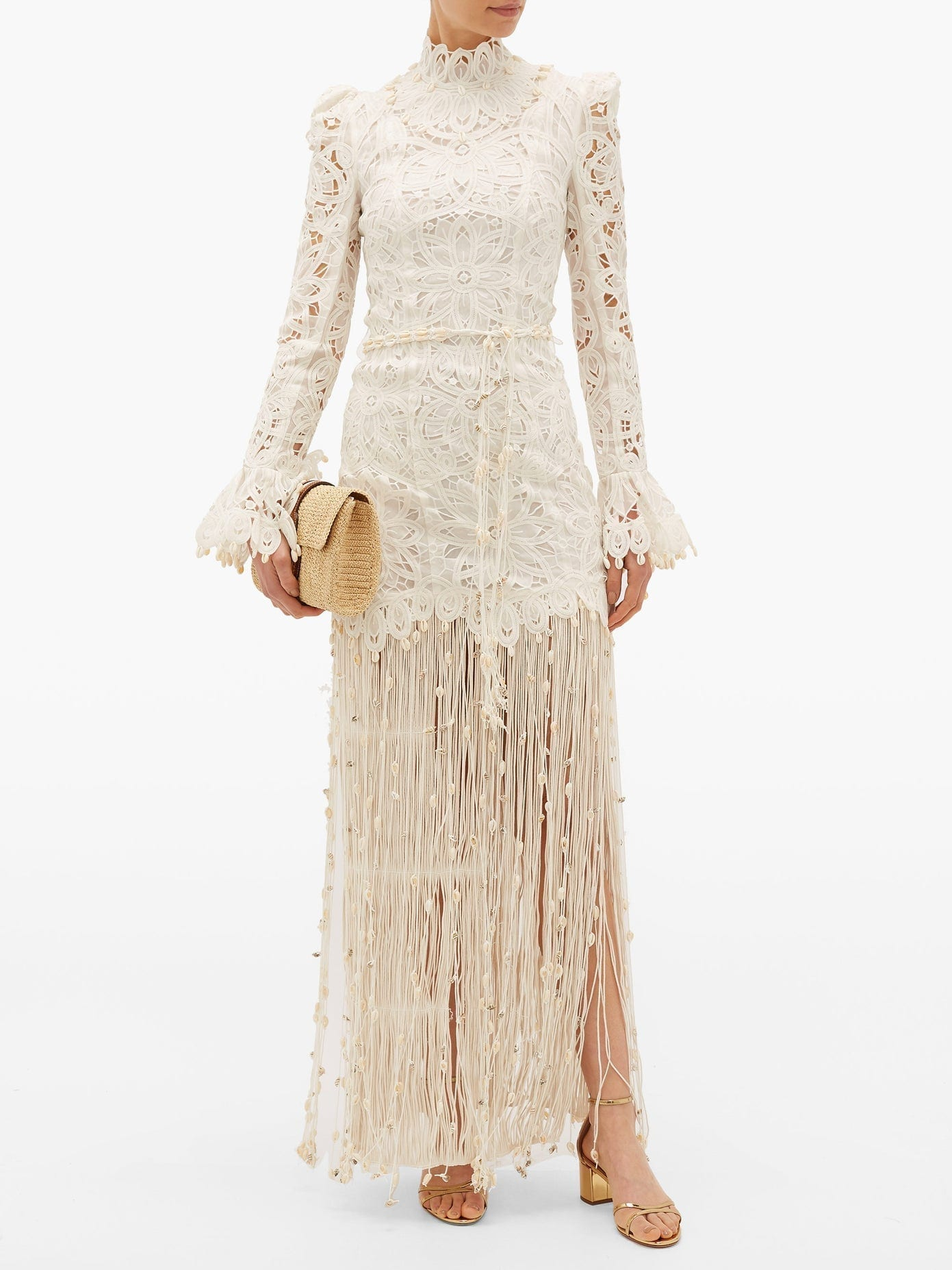 ZIMMERMANN Wavelength Seashell Fringed Silk Gown