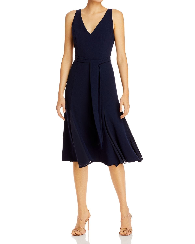 ADRIANNA PAPELL Belted V-Neck Dress