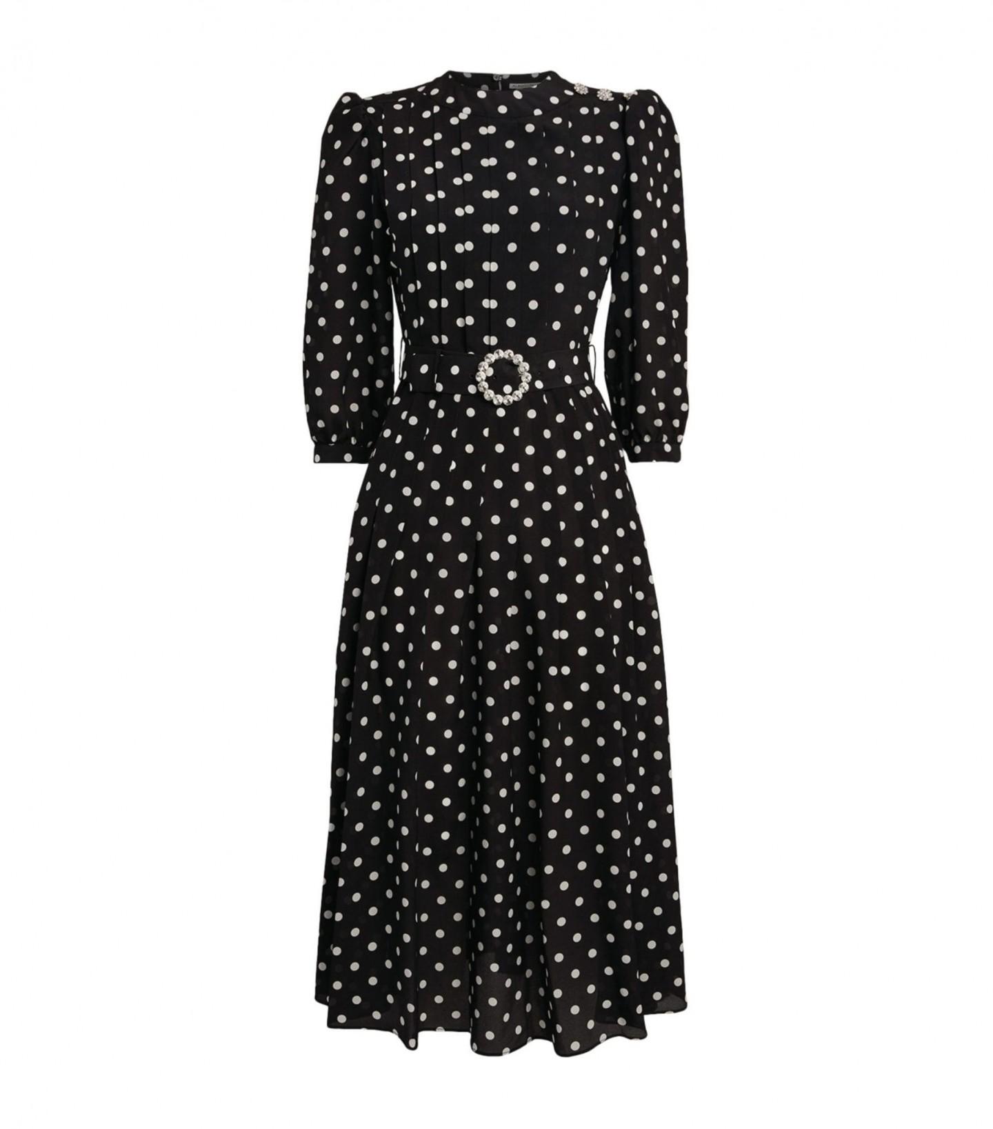 ALESSANDRA RICH Polka-Dot Pleated Silk Dress
