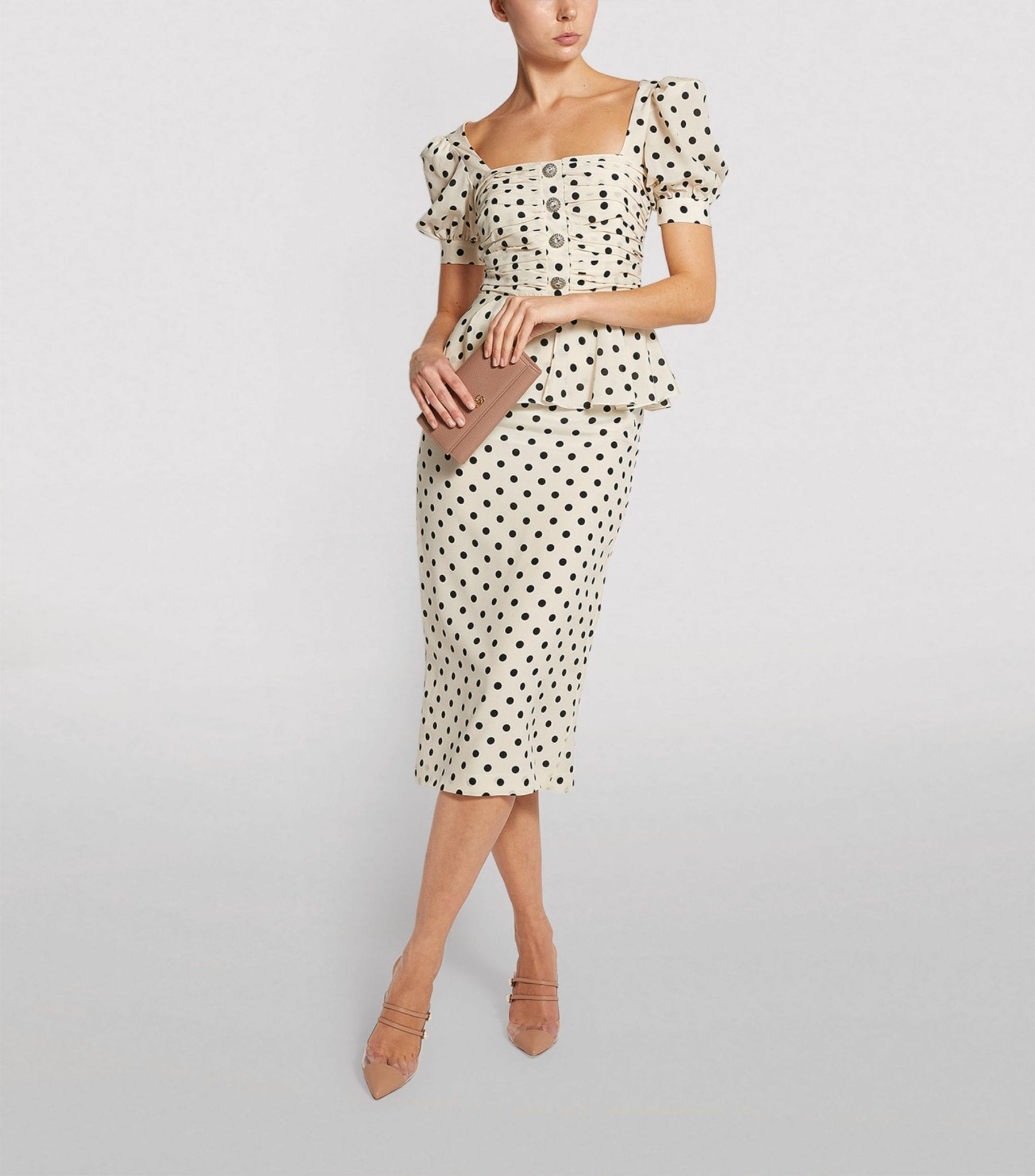 ALESSANDRA RICH Polka-Dot Ruched Dress