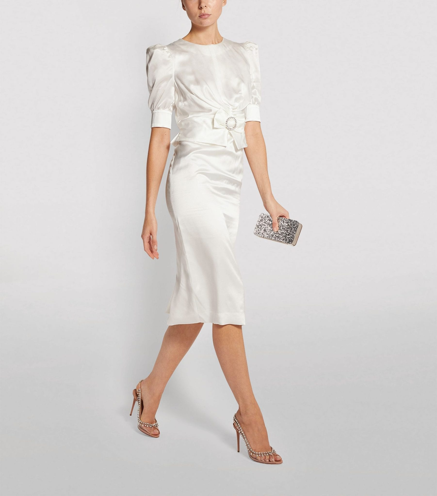 ALESSANDRA RICH Satin Crystal-Buckle Dress