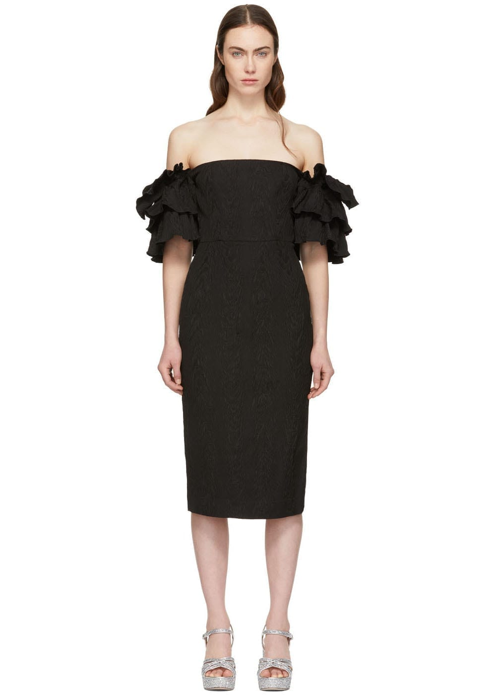 ALEXACHUNG Black Puff Sleeve Dress