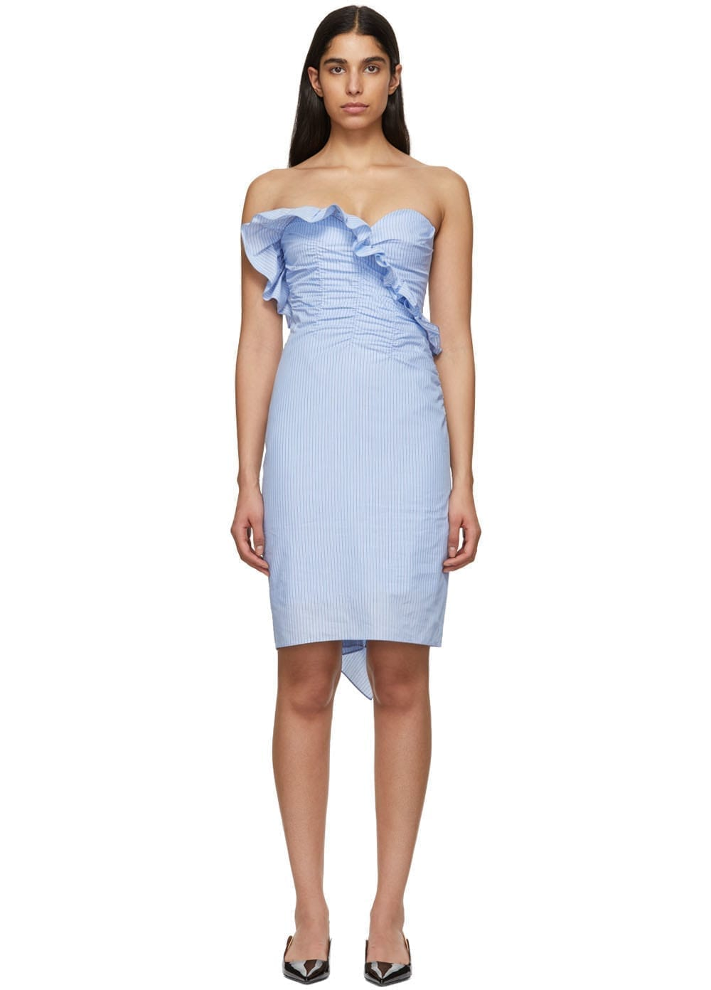 ALEXACHUNG Blue Ruched Dress