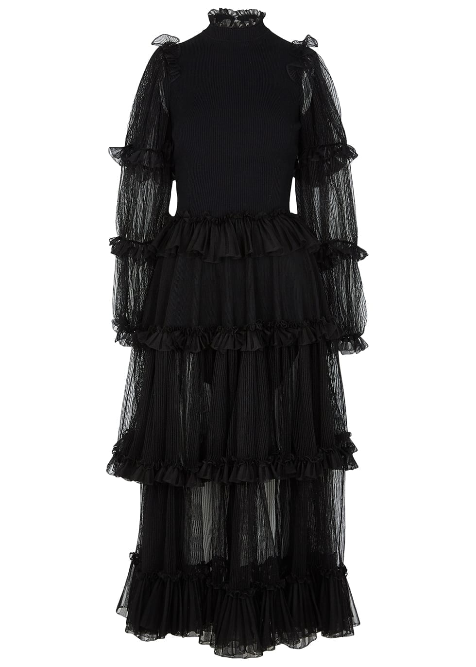 ALEXANDER MCQUEEN Black Ruffled Tulle And Silk Dress