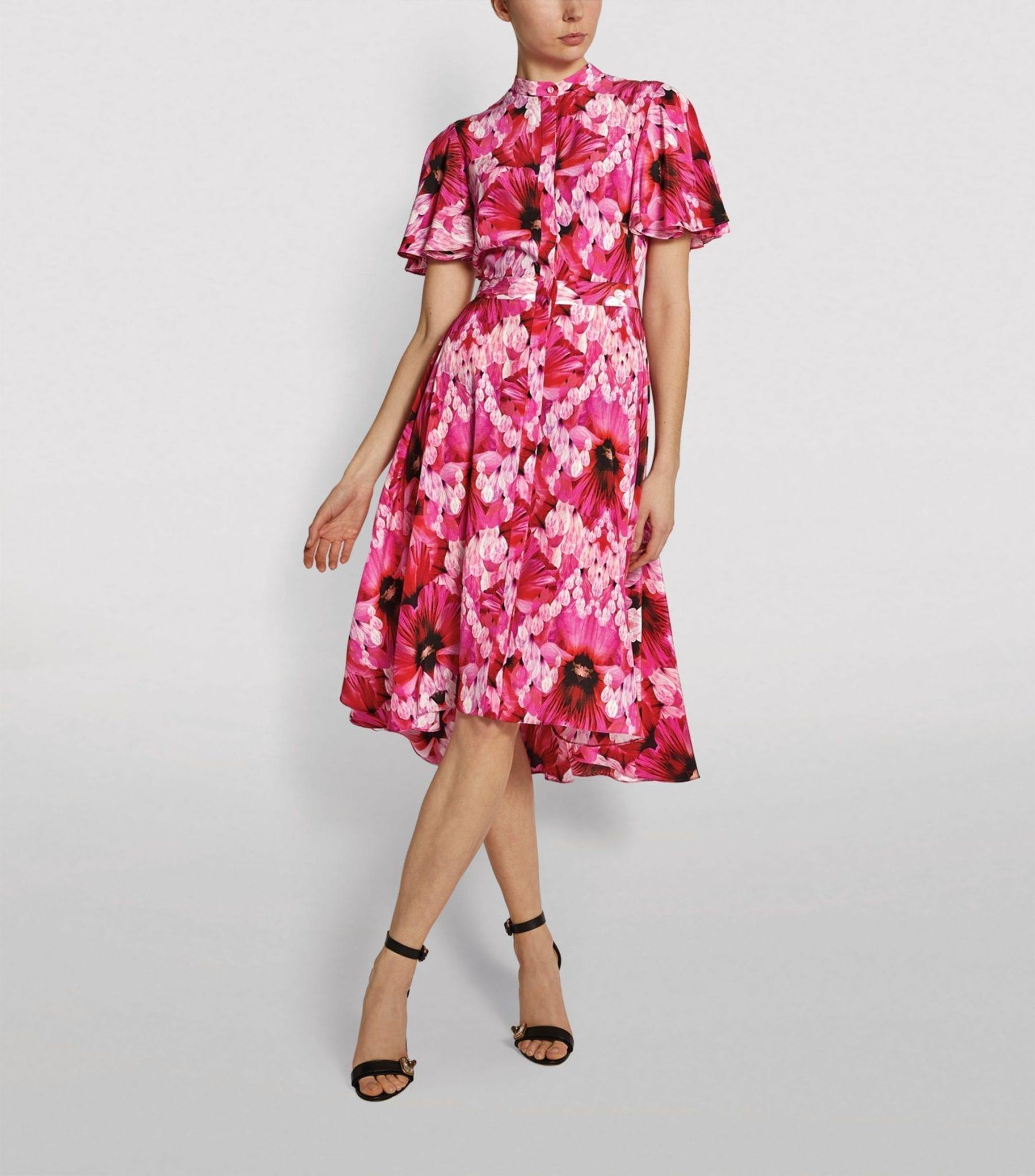 ALEXANDER MCQUEEN Endangered Flower Print Midi Dress