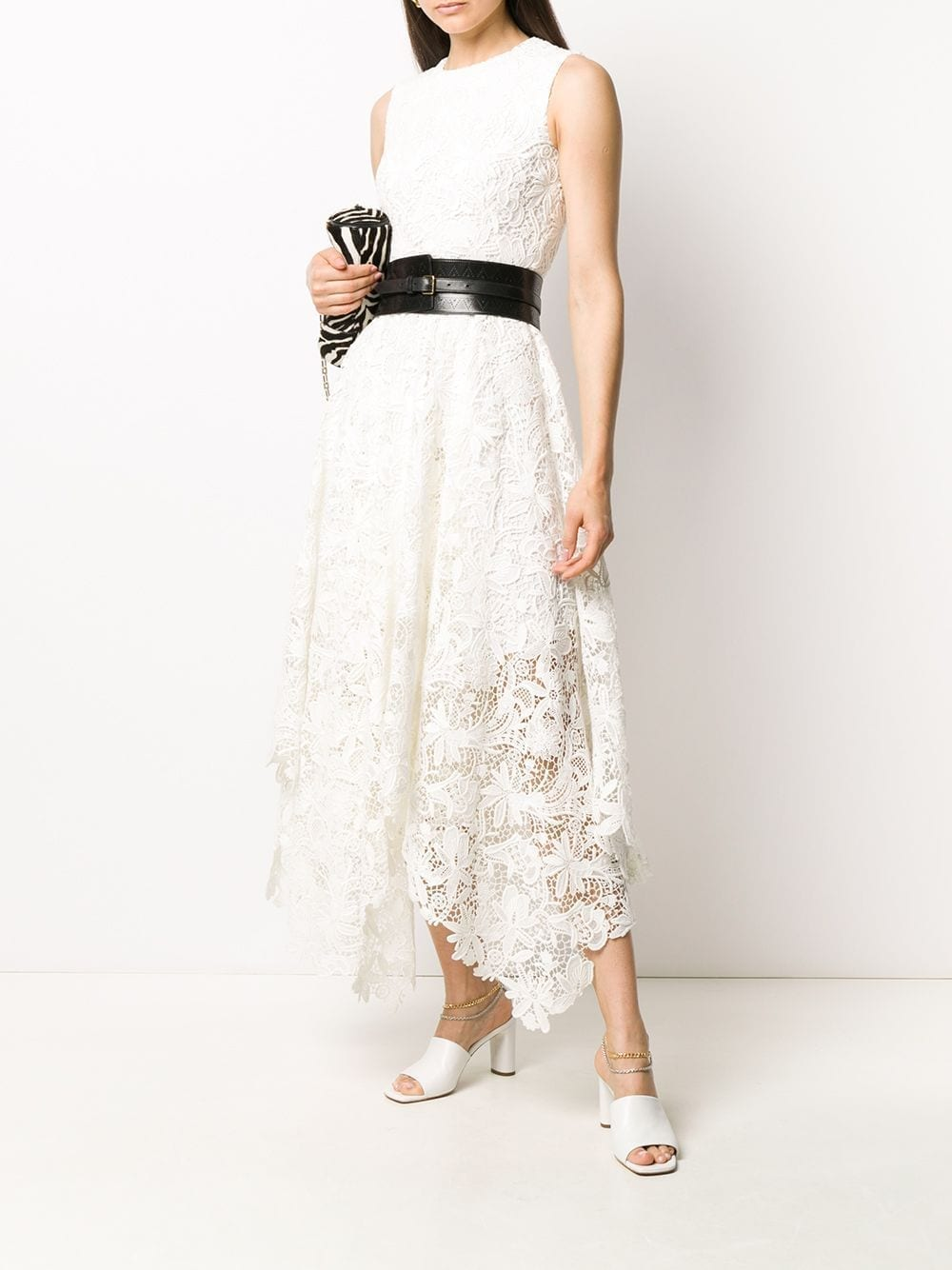 ALEXANDER MCQUEEN Floral Lace Asymmetric Dress