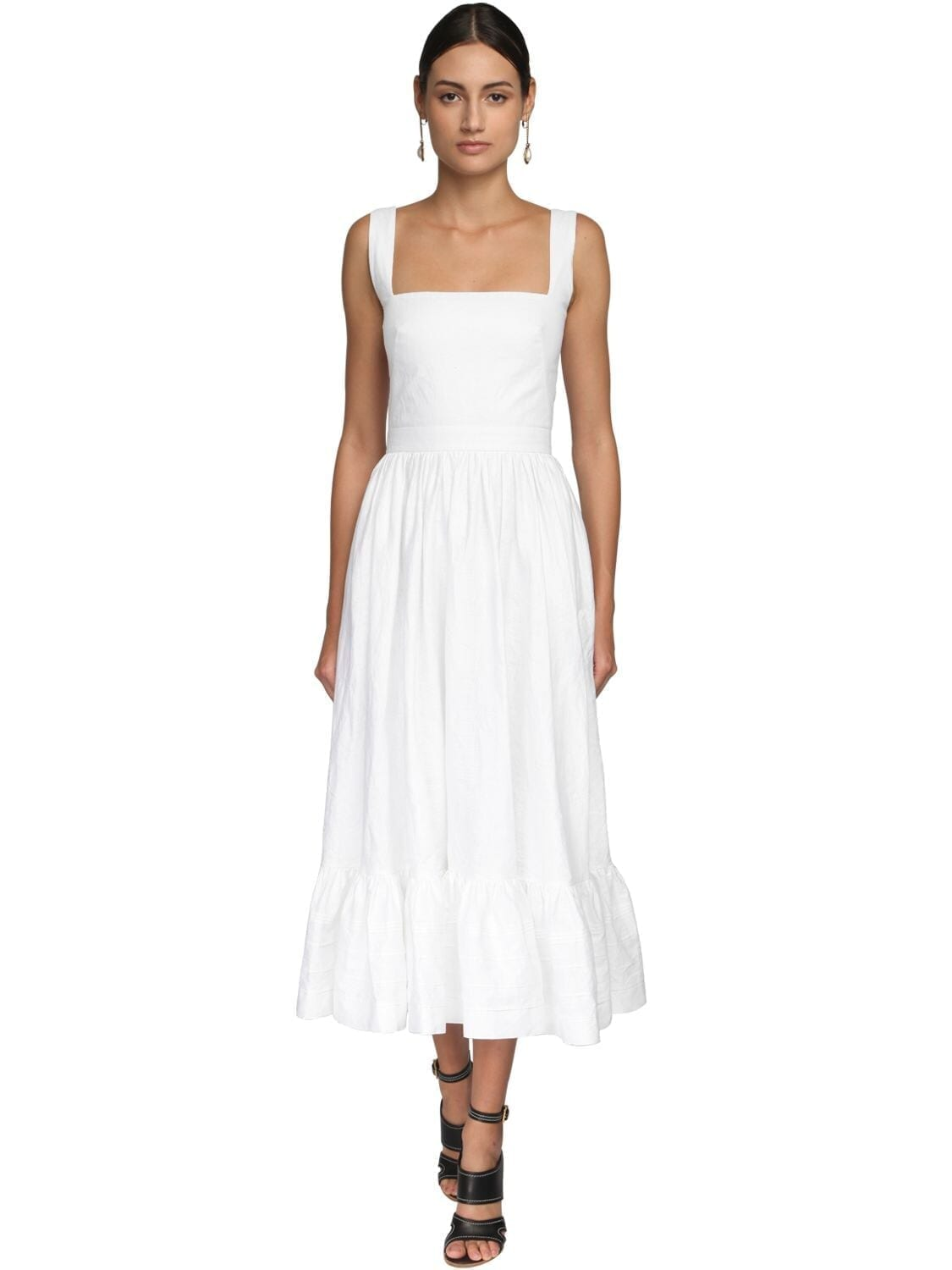 ALEXANDER MCQUEEN Ruffled Linen Midi Dress