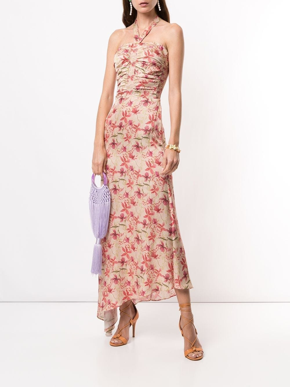 ALEXIS Halterneck Leaf Print Dress