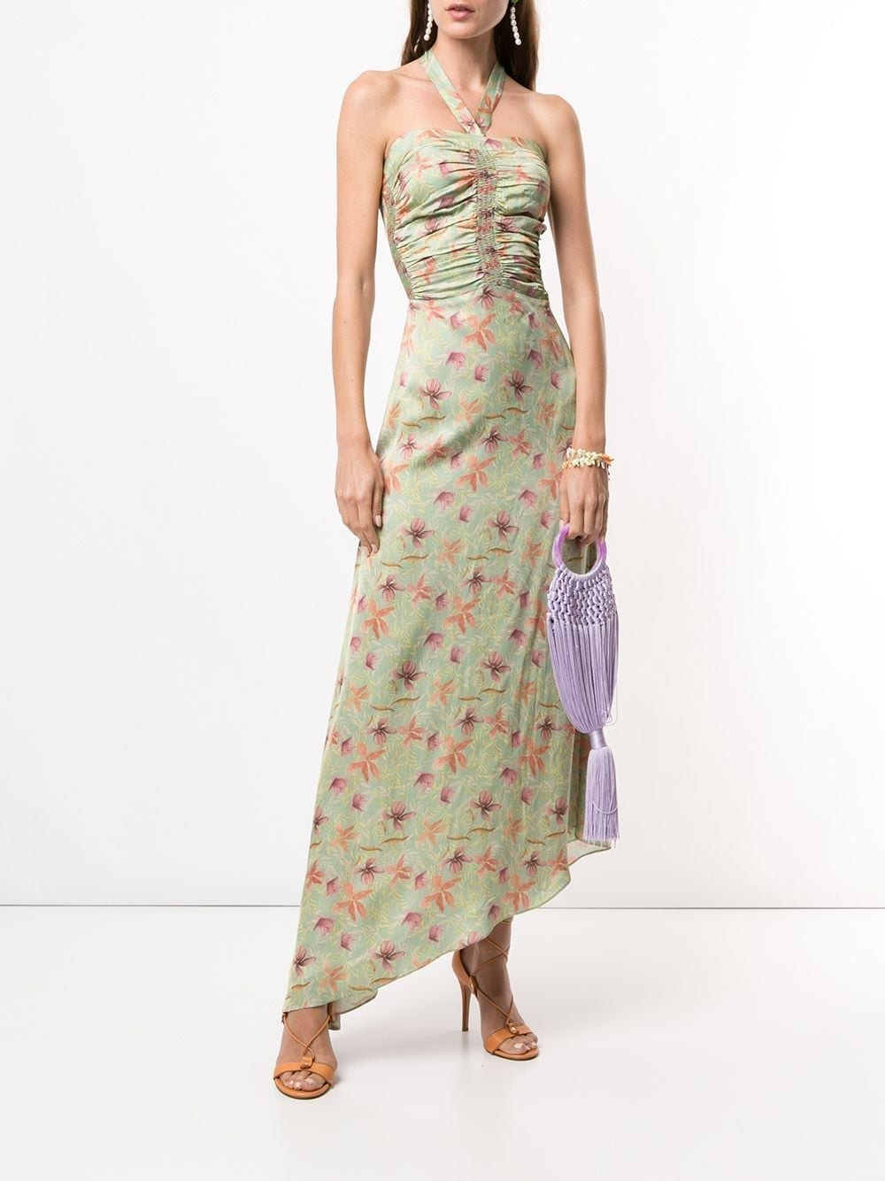 ALEXIS Leaf Print Asymmetric Dress