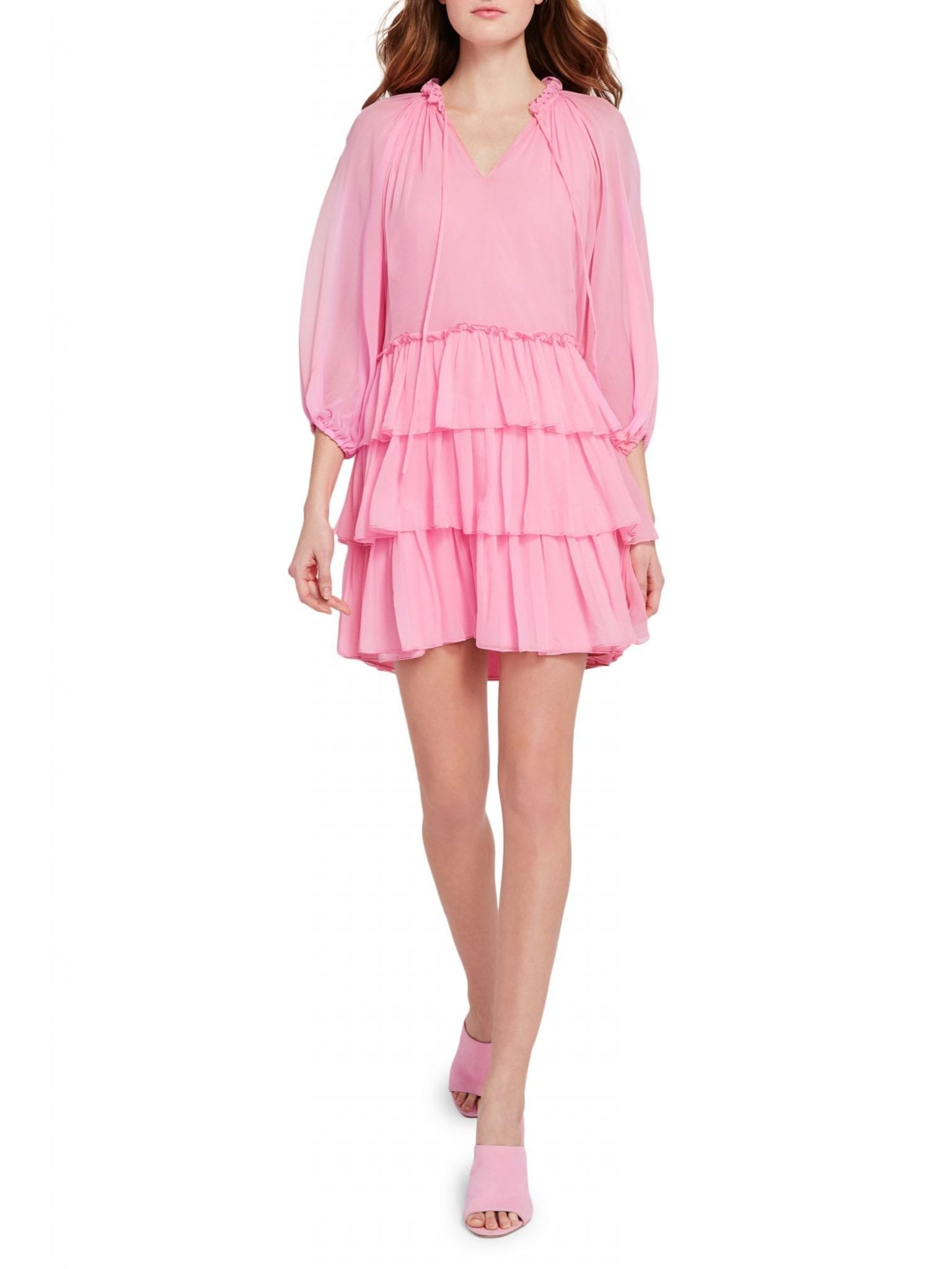 ALICE + OLIVIA Layla Puff-Sleeve Silk Tiered Mini Dress