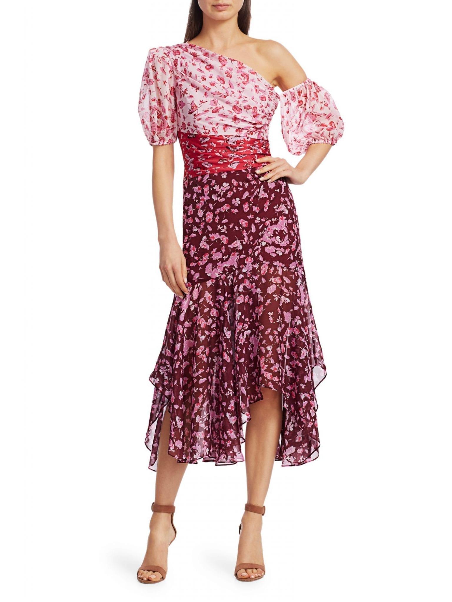 AMUR Floral Asymmetrical Midi Dress