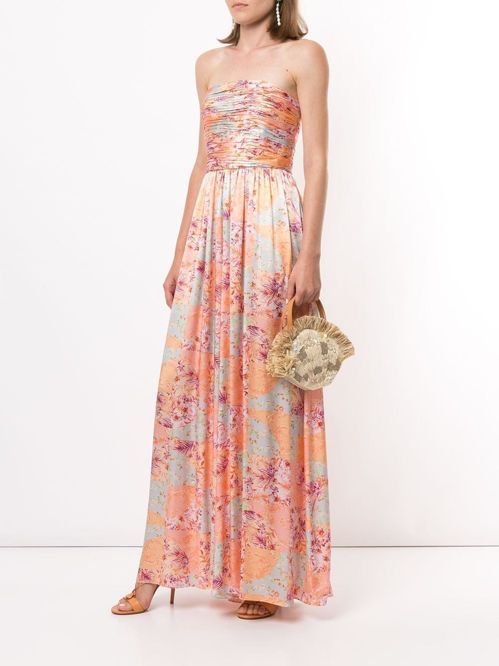 AMUR Pleated Floral Jumpsuit Dress