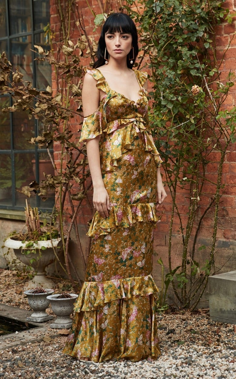 AMUR Priscilla Floral Tiered Satin Maxi Dress