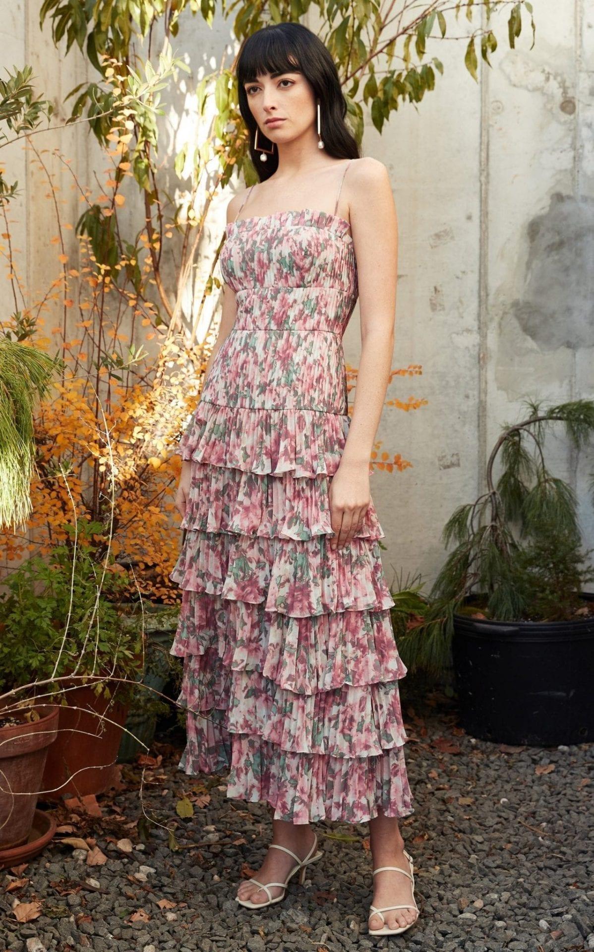 AMUR Viola Floral-Print Tiered Crepe Dress