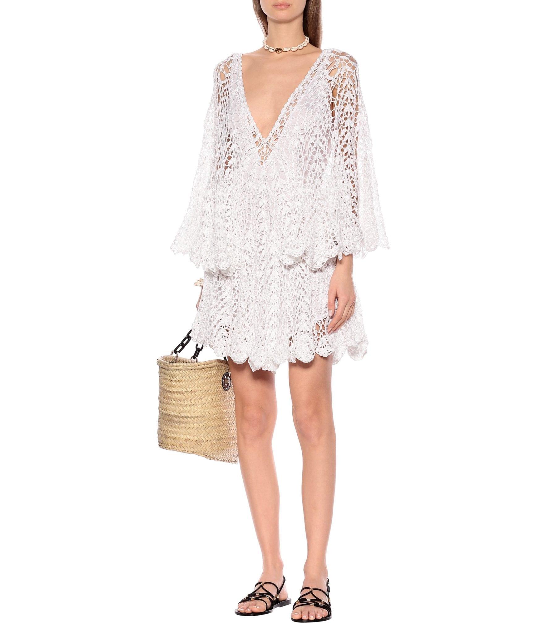 ANNA KOSTUROVA Crochet Cotton Mini Dress