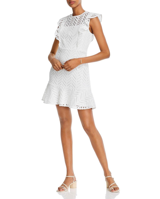 AQUA Lace Ruffled Dress