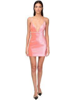 AREA Stretch Lamé Mini Dress