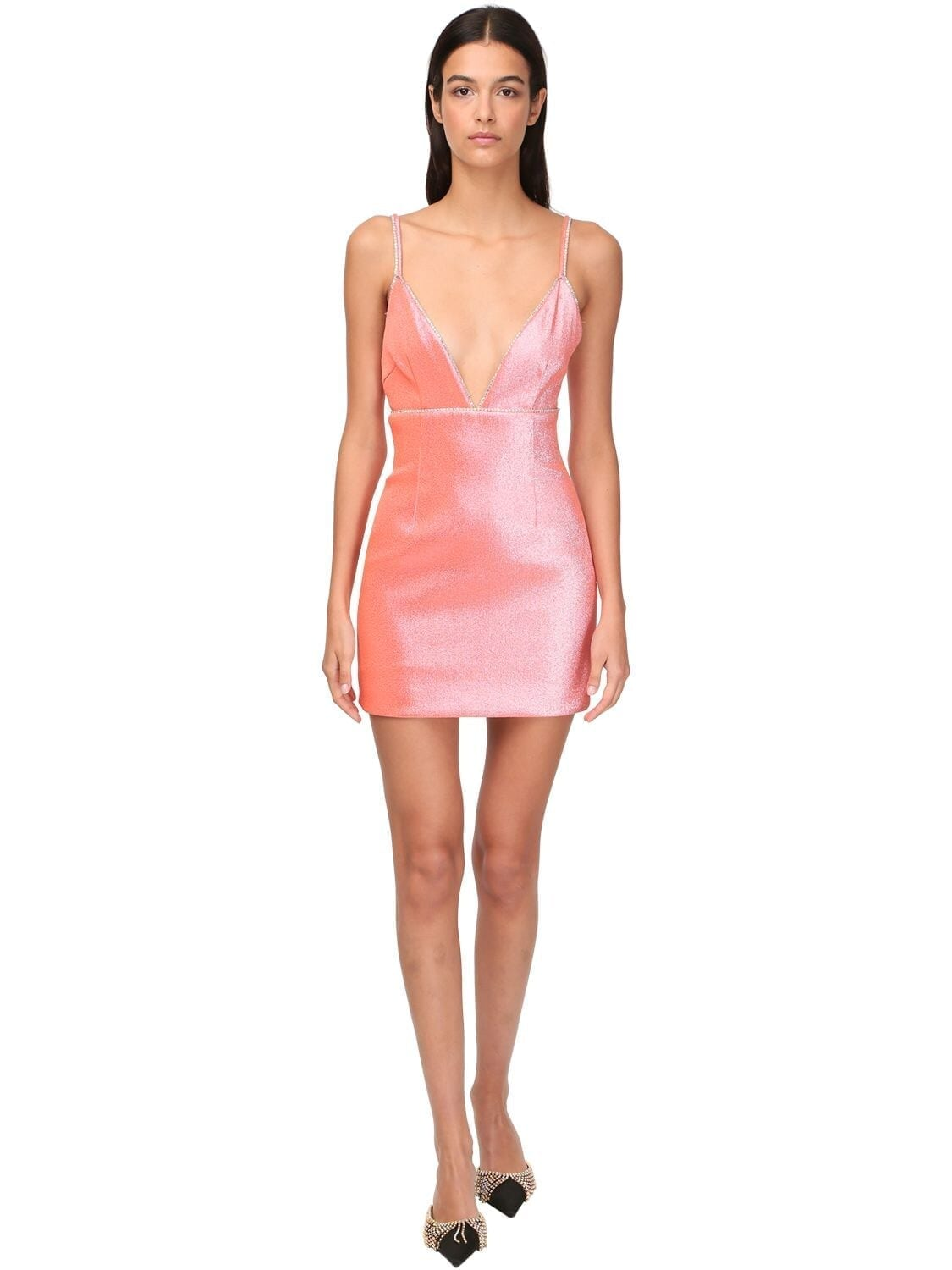 AREA Stretch Lamé Mini Dress