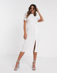 ASOS DESIGN Broderie Midi Tea Dress
