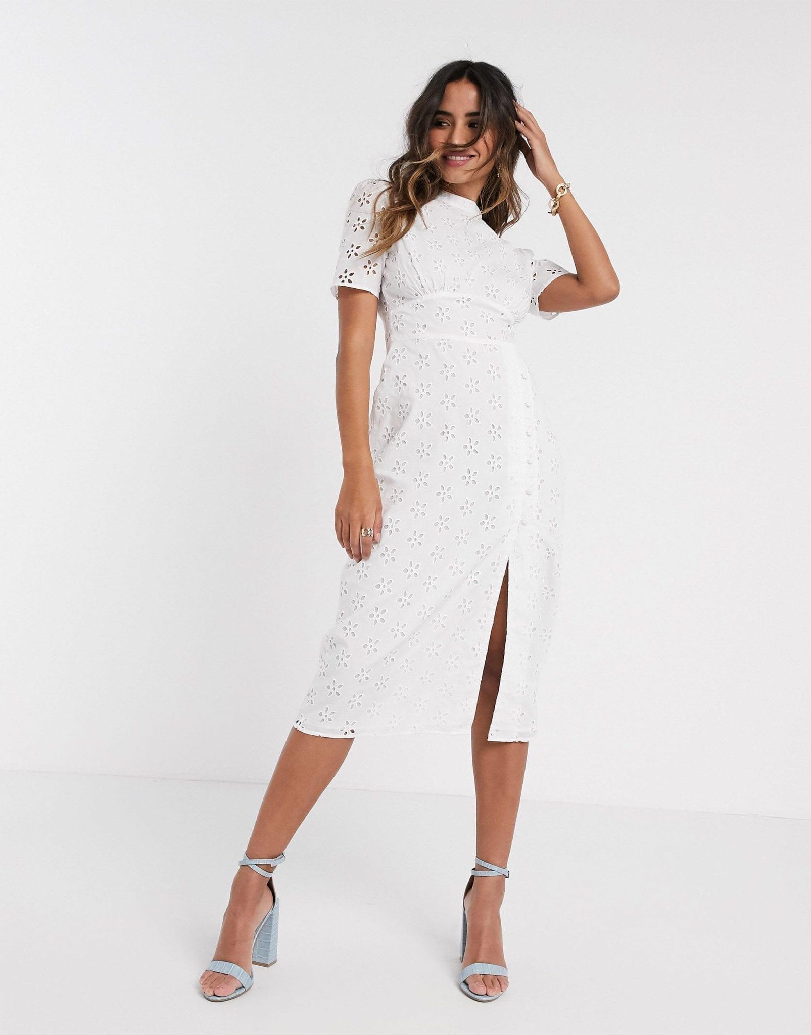 ASOS DESIGN Broderie Midi Tea Dress