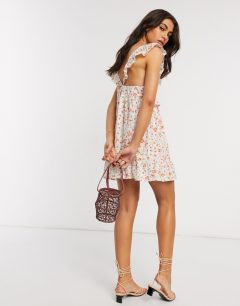 ASOS DESIGN Frill Lace Inserts Tiered Mini Sun Dress