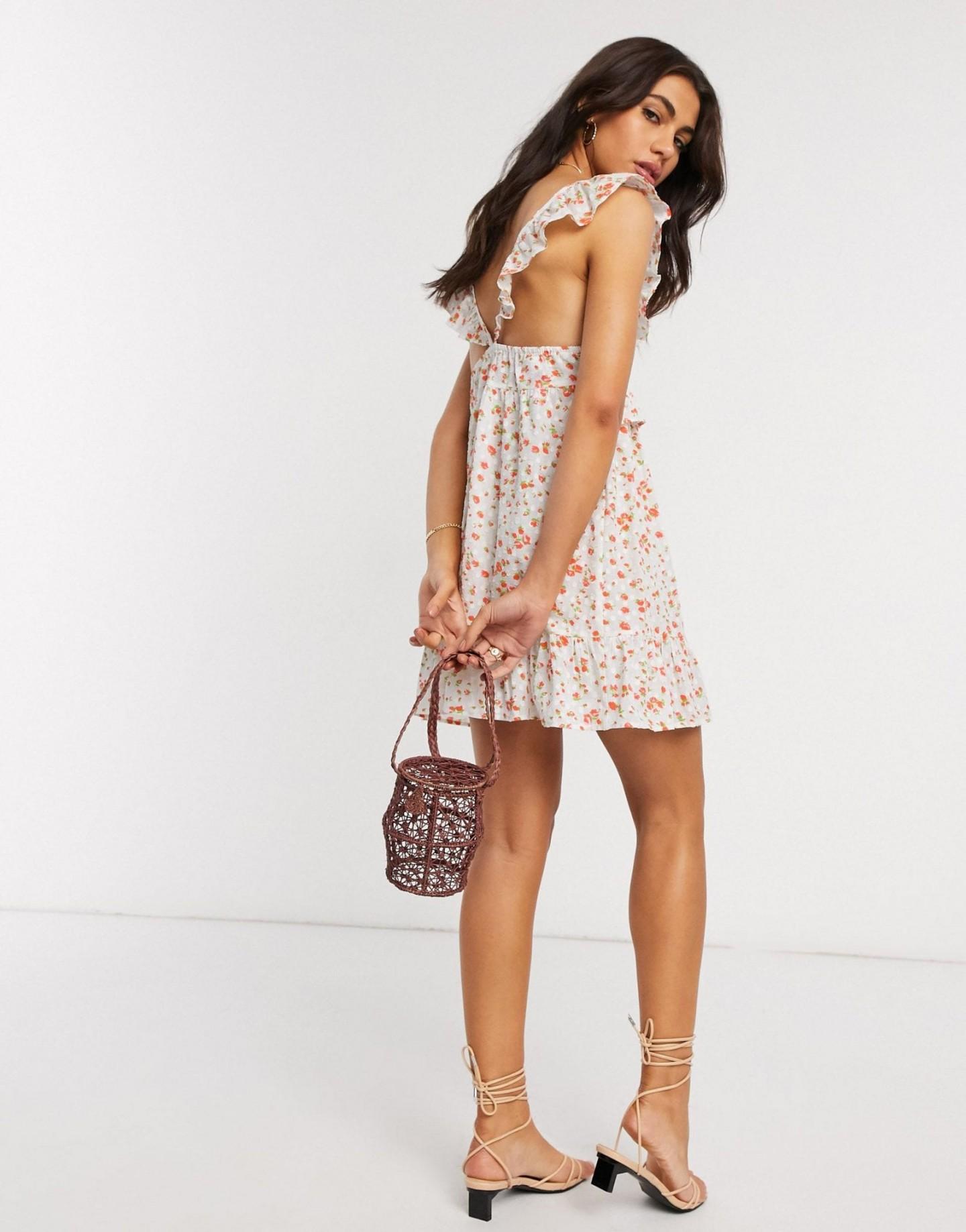 ASOS DESIGN Frill Lace Inserts Tiered Mini Sun Dress