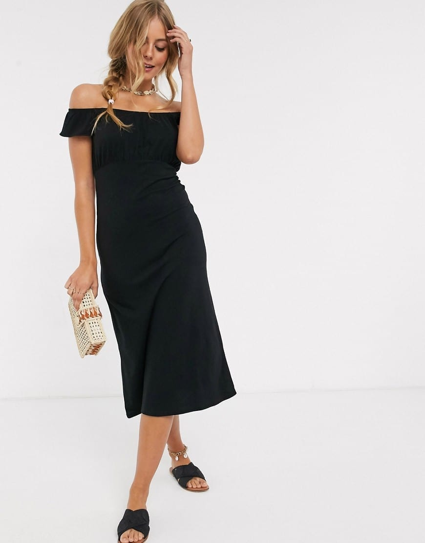 ASOS DESIGN Off Shoulder Pep Hem Midi Sun Dress