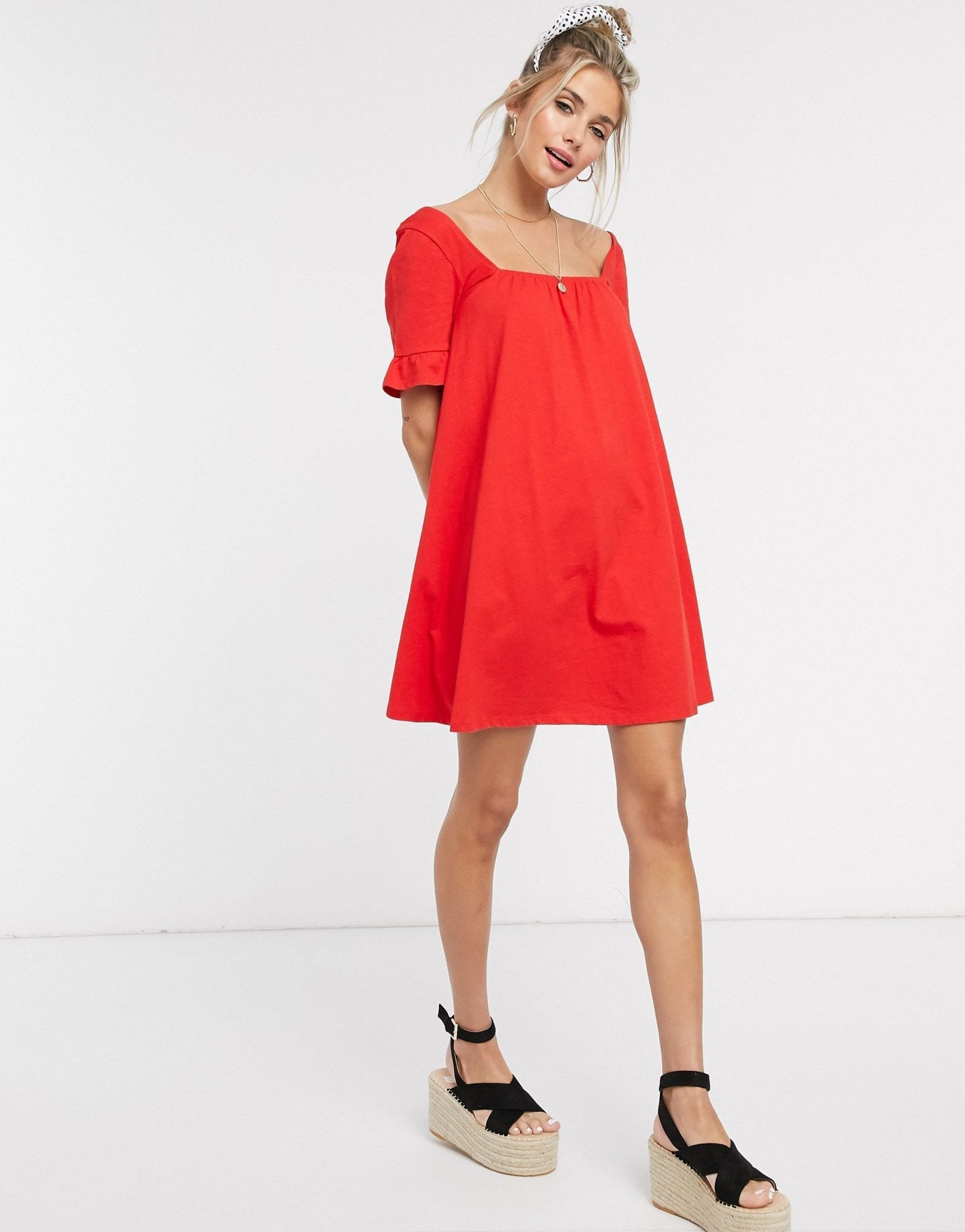 ASOS DESIGN Square Neck Frill Sleeve Smock Dress