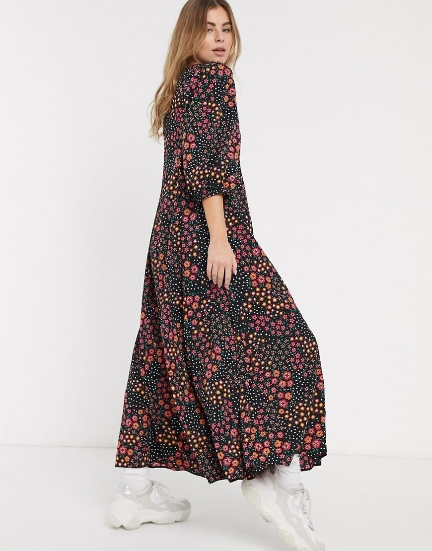 ASOS DESIGN Trapeze Puff Sleeve Maxi Dress