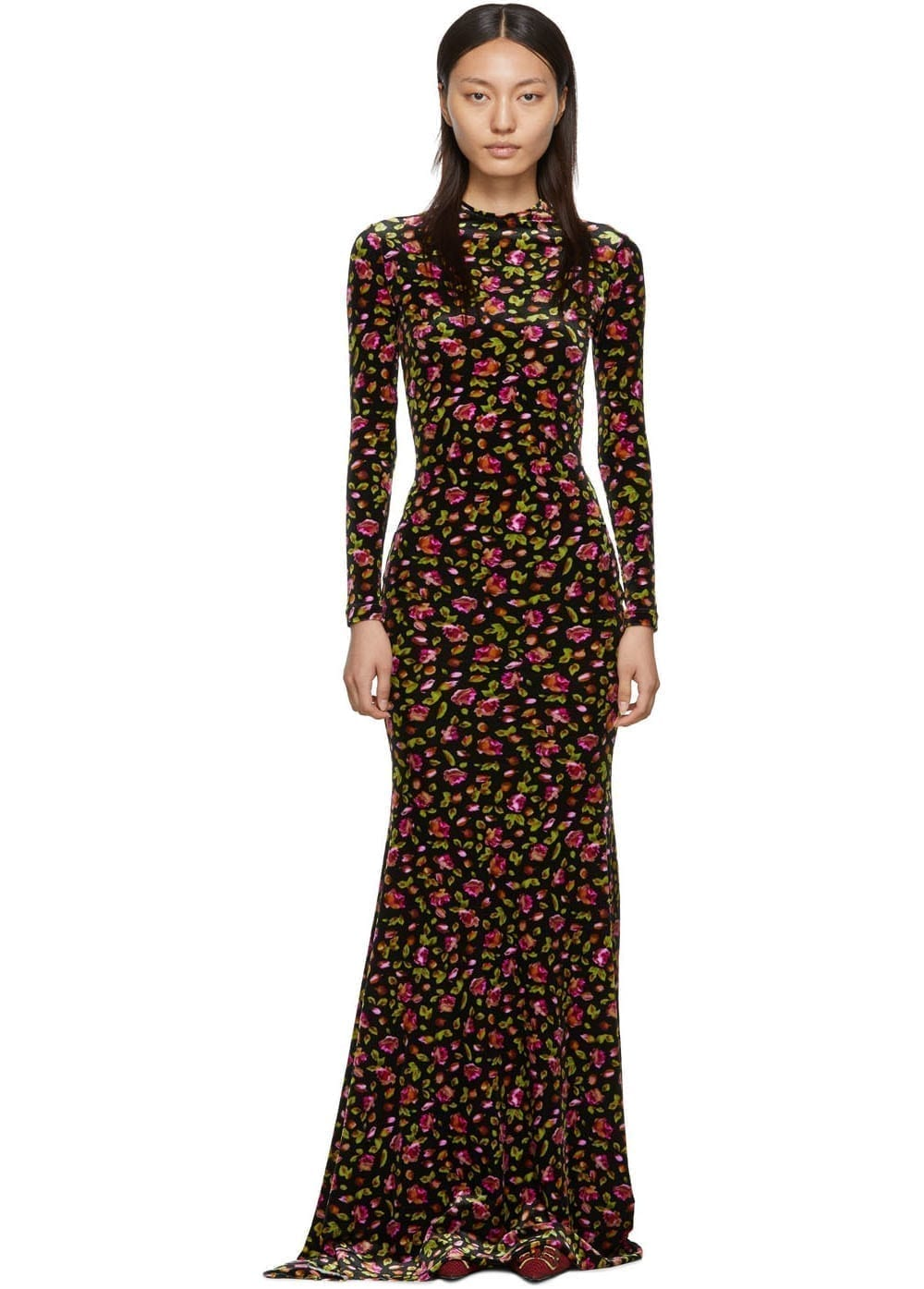 BALENCIAGA Black Velvet Evening Long Dress