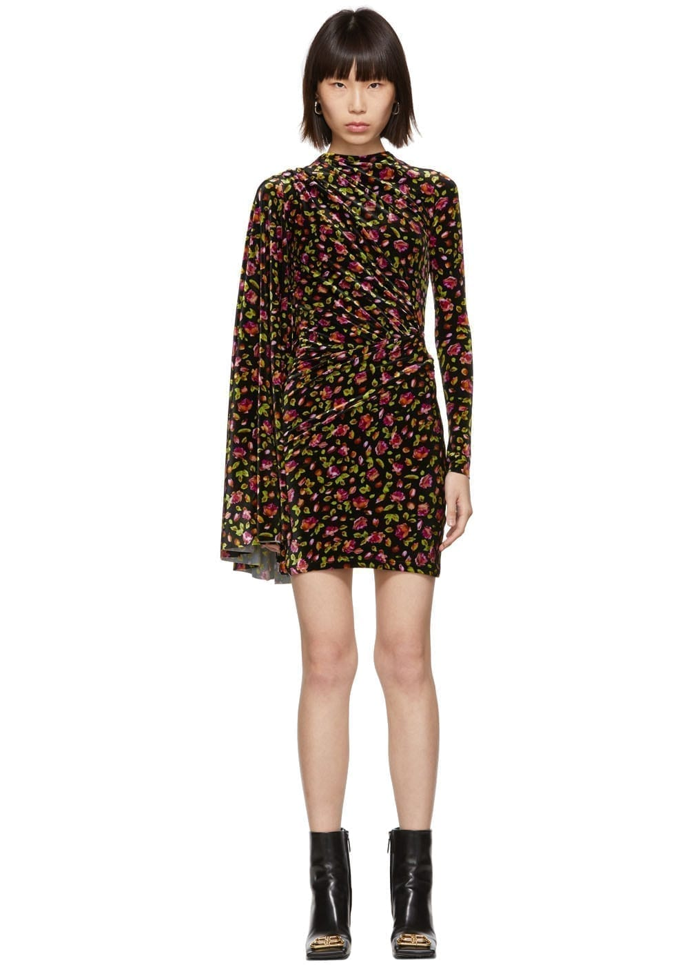 BALENCIAGA Black Velvet Floral Asymmetric Drape Dress