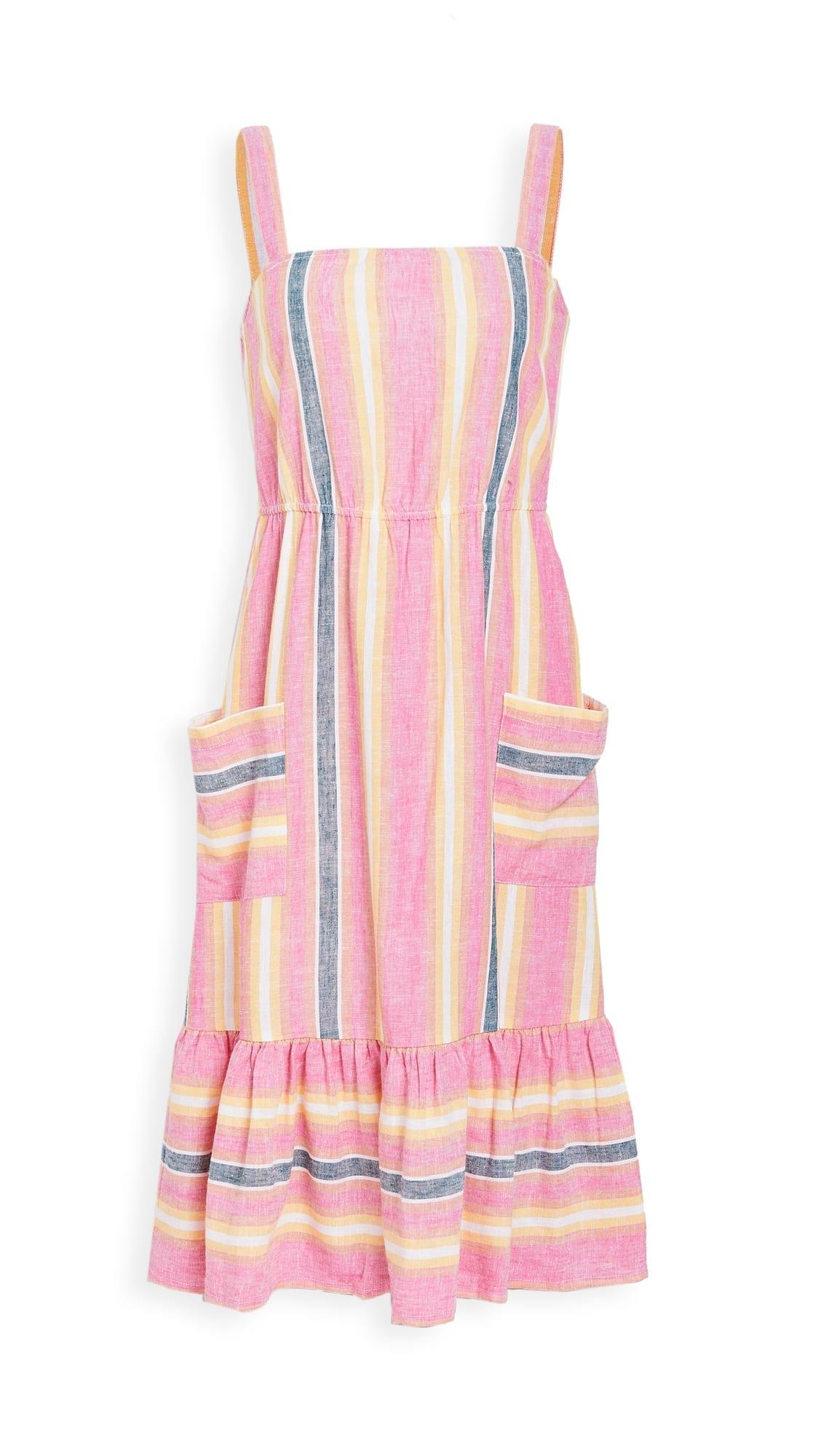 BB DAKOTA Pink Lemonade Linen Stripe Dress