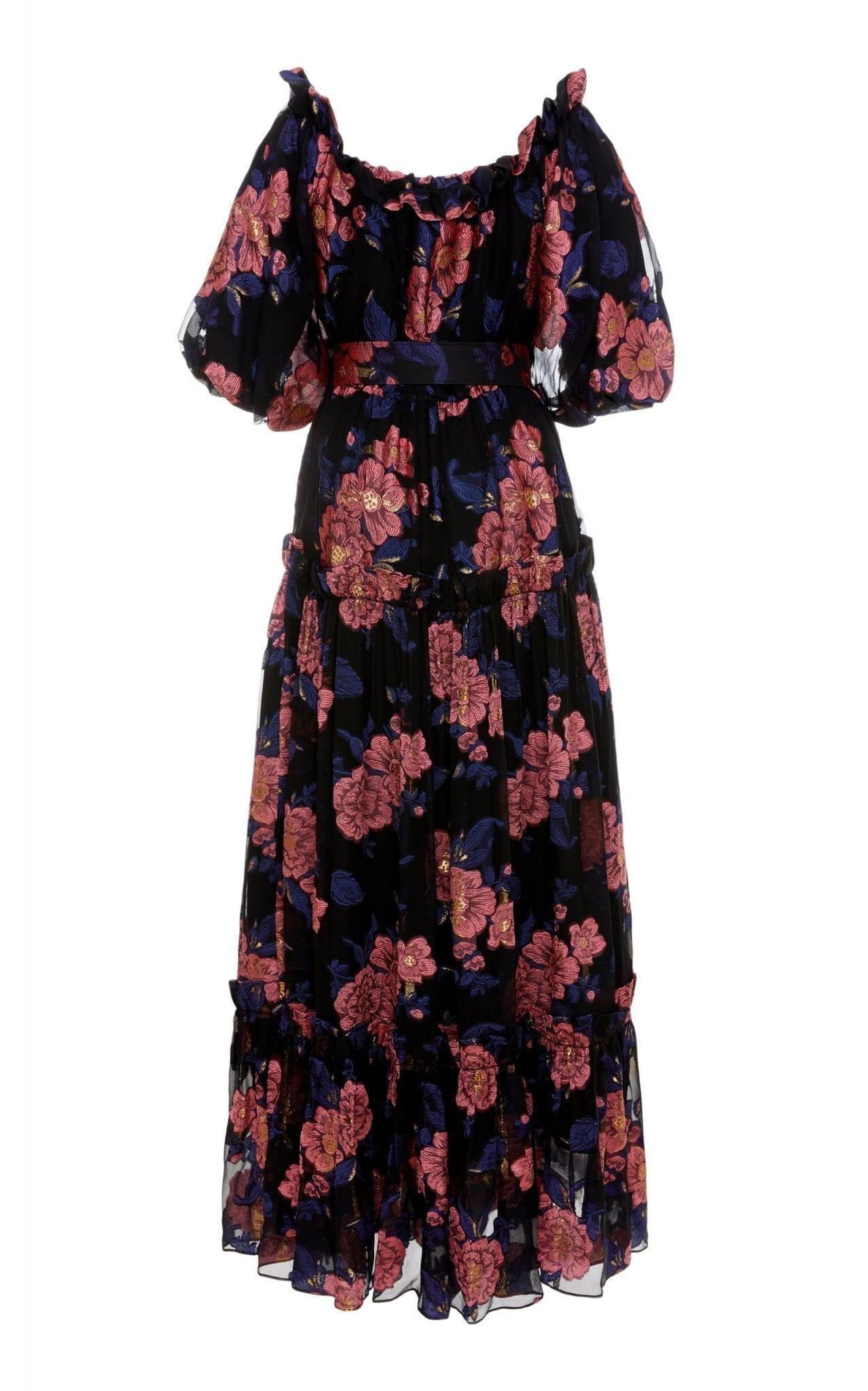BORGO DE NOR Gwendolyn Off-The-Shoulder Silk Fil Coupè Dress