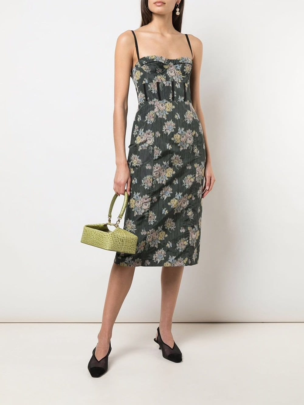 BROCK COLLECTION Bustier Pencil Floral Midi Dress