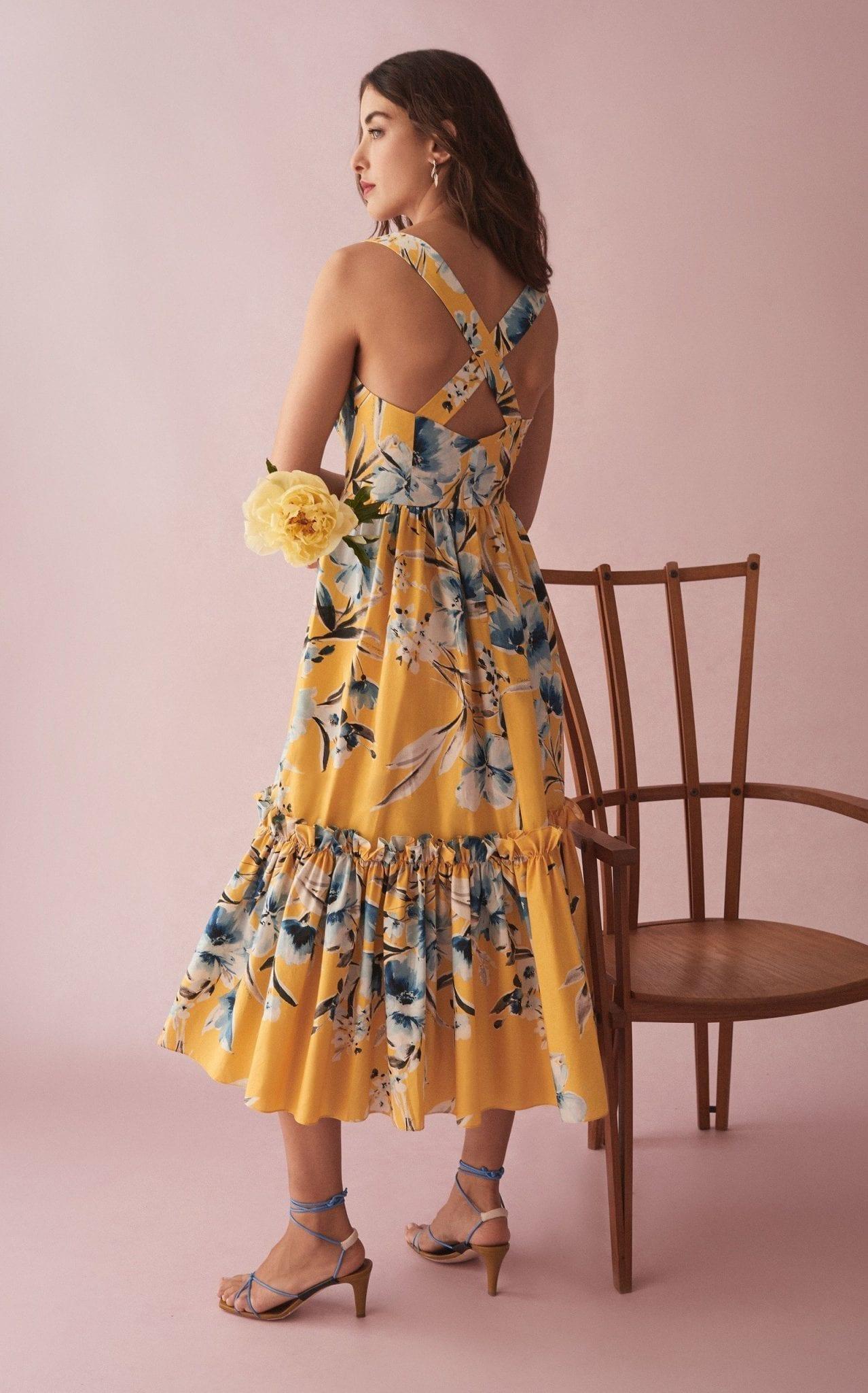 CARA CARA Julia Printed Tiered Cotton-Poplin Midi Dress
