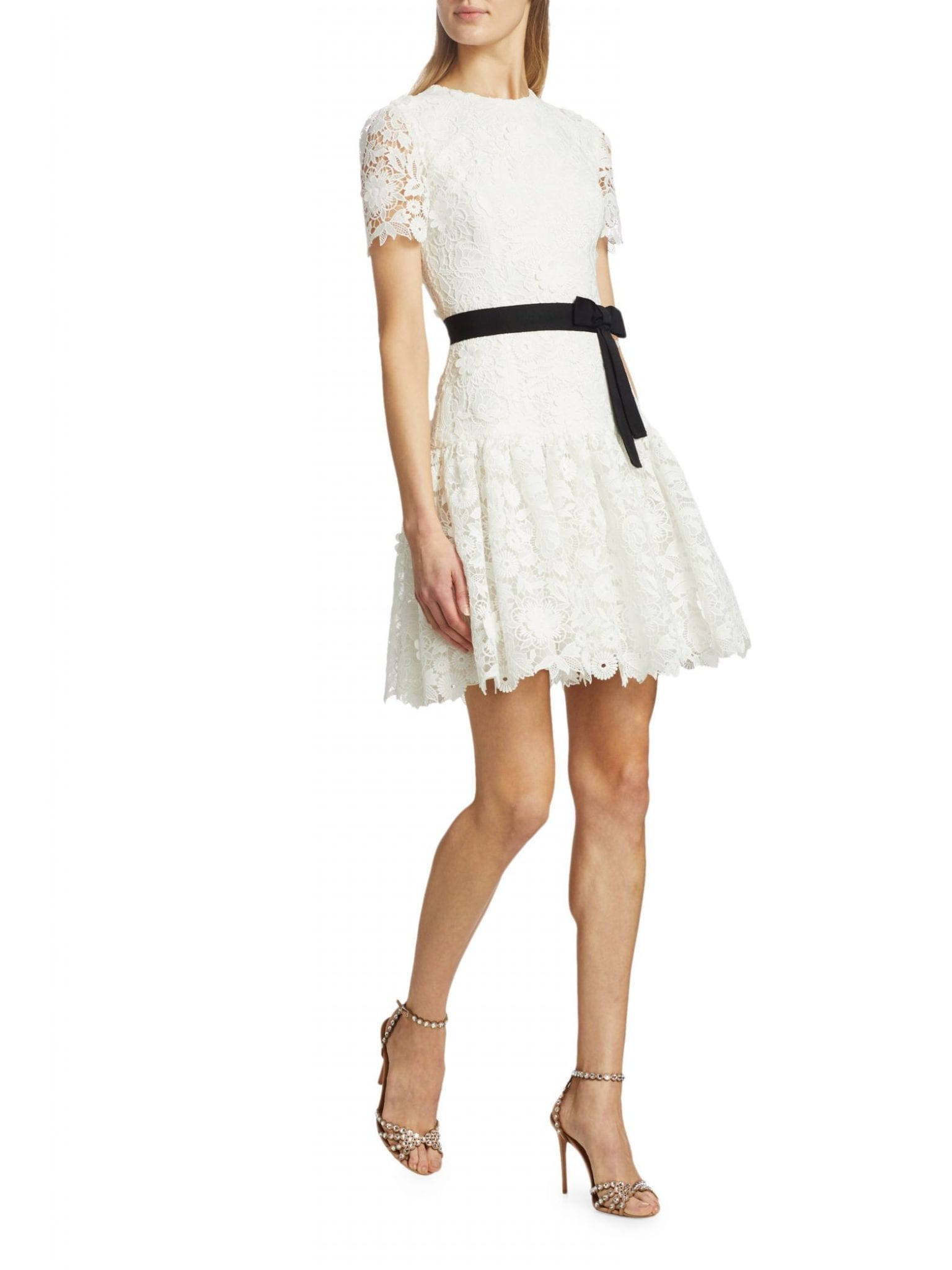 CAROLINA HERRERA Floral Lace Ruffle-Hem Mini Dress