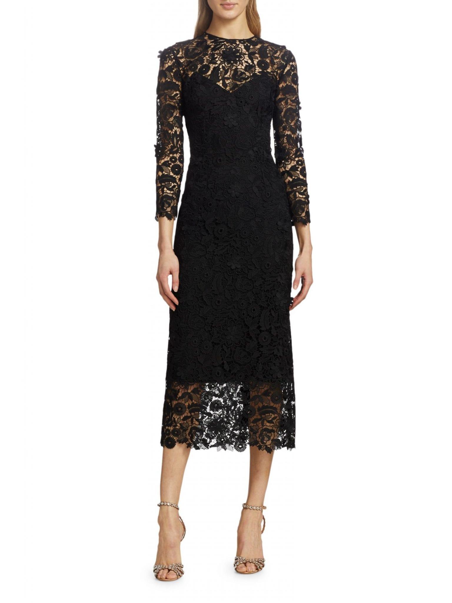 CAROLINA HERRERA Floral Lace Sheath Dress