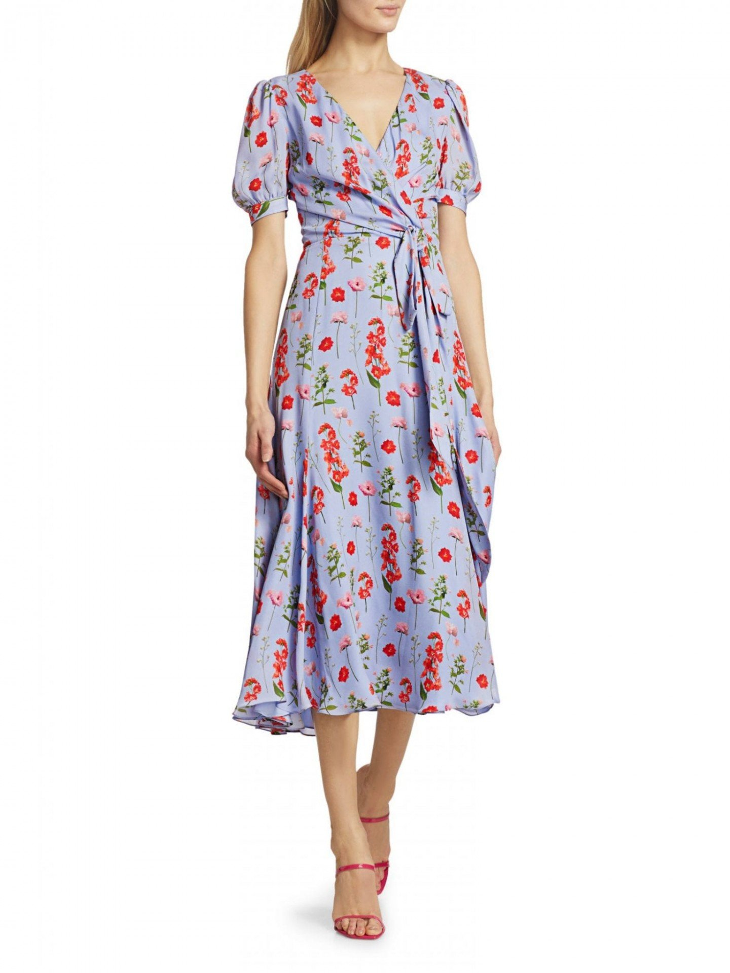 CAROLINA HERRERA Floral Silk Midi Wrap Dress