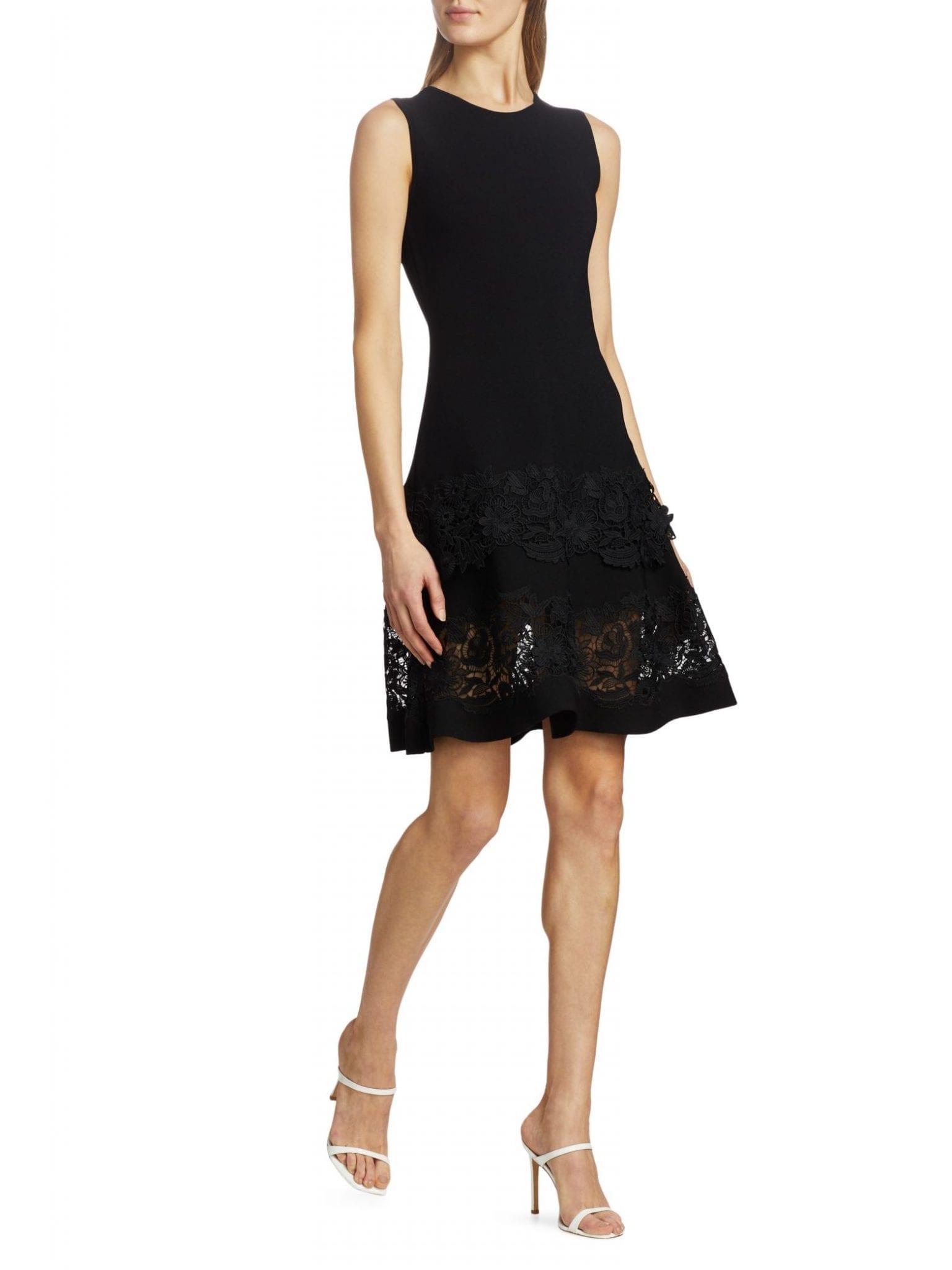 CAROLINA HERRERA Sleeveless Lace-Hem Fit-&-Flare Dress
