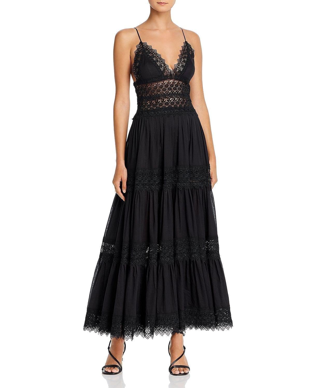 CHARO RUIZ IBIZA Cindy Crochet-Inset Plunging Maxi Dress