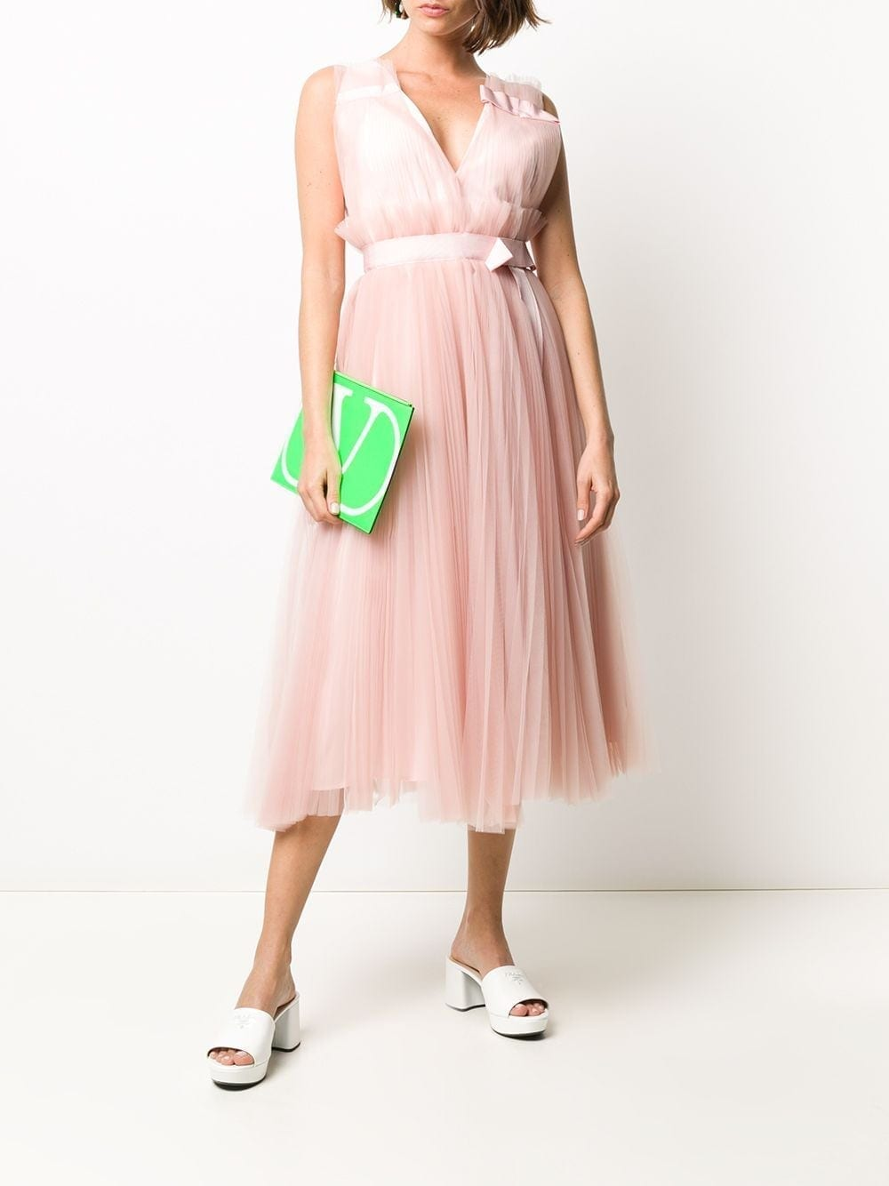 DICE KAYEK Pleated V-neck Dress