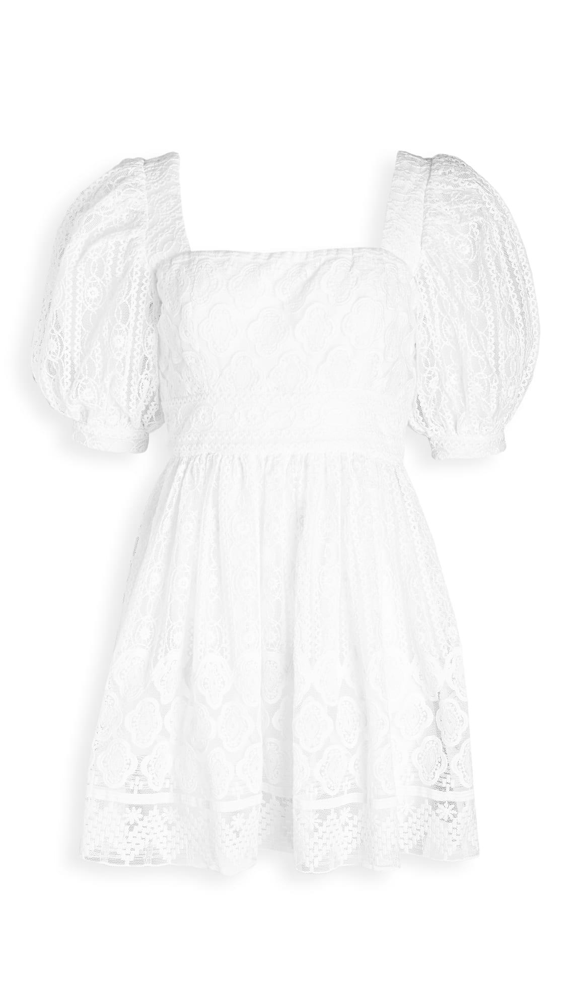 DIVINE HERITAGE Puff Sleeve Square Neck Mini Dress