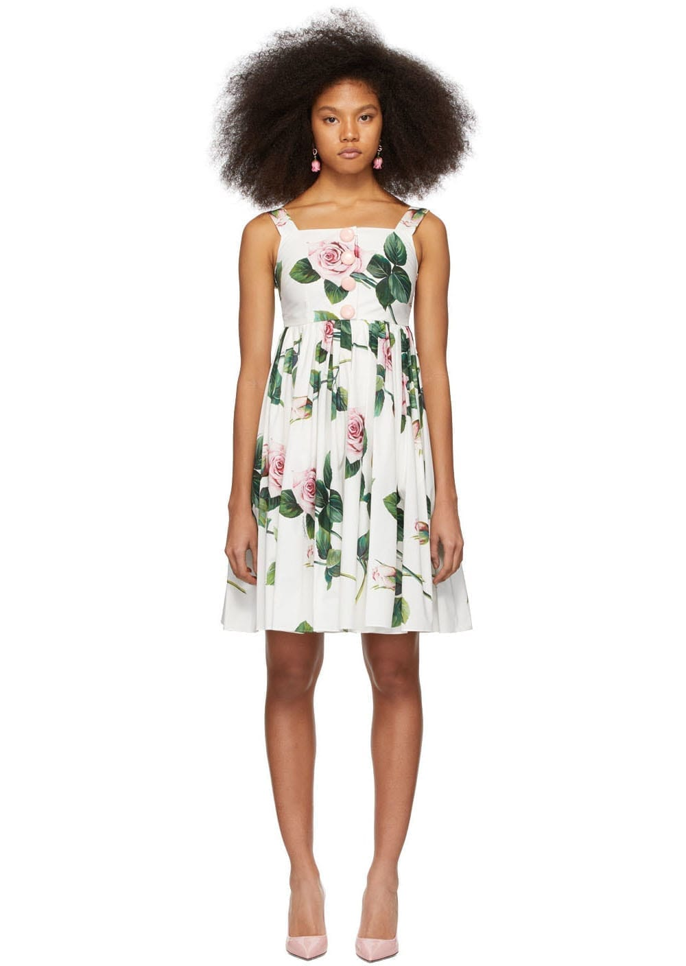 DOLCE & GABBANA Multicolor Tropical Rose Print Dress