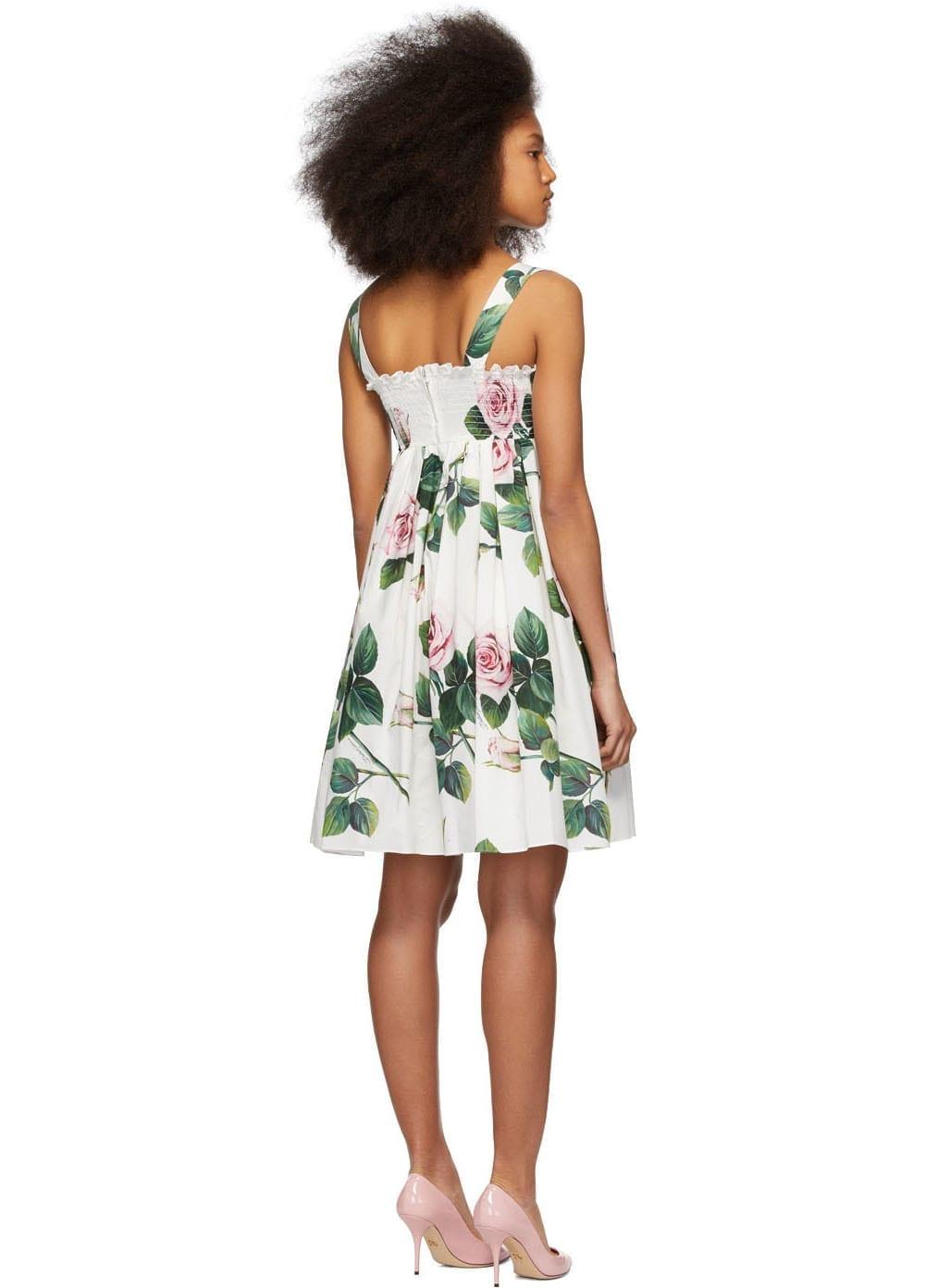 DOLCE & GABBANA Multicolor Tropical Rose Print Dress